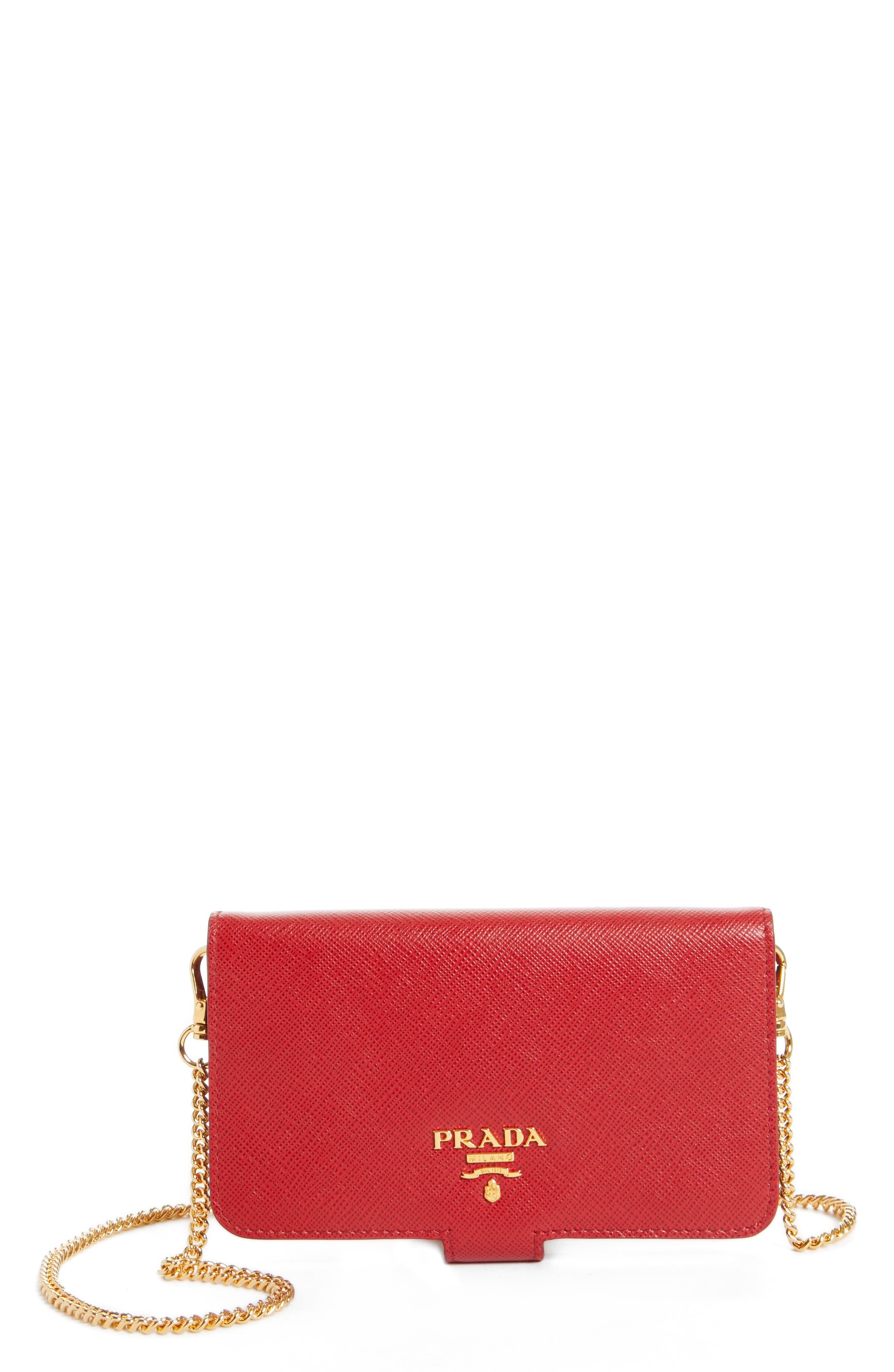 Saffiano Metal Oro Chain Book Phone Wallet,                             Main thumbnail 2, color,