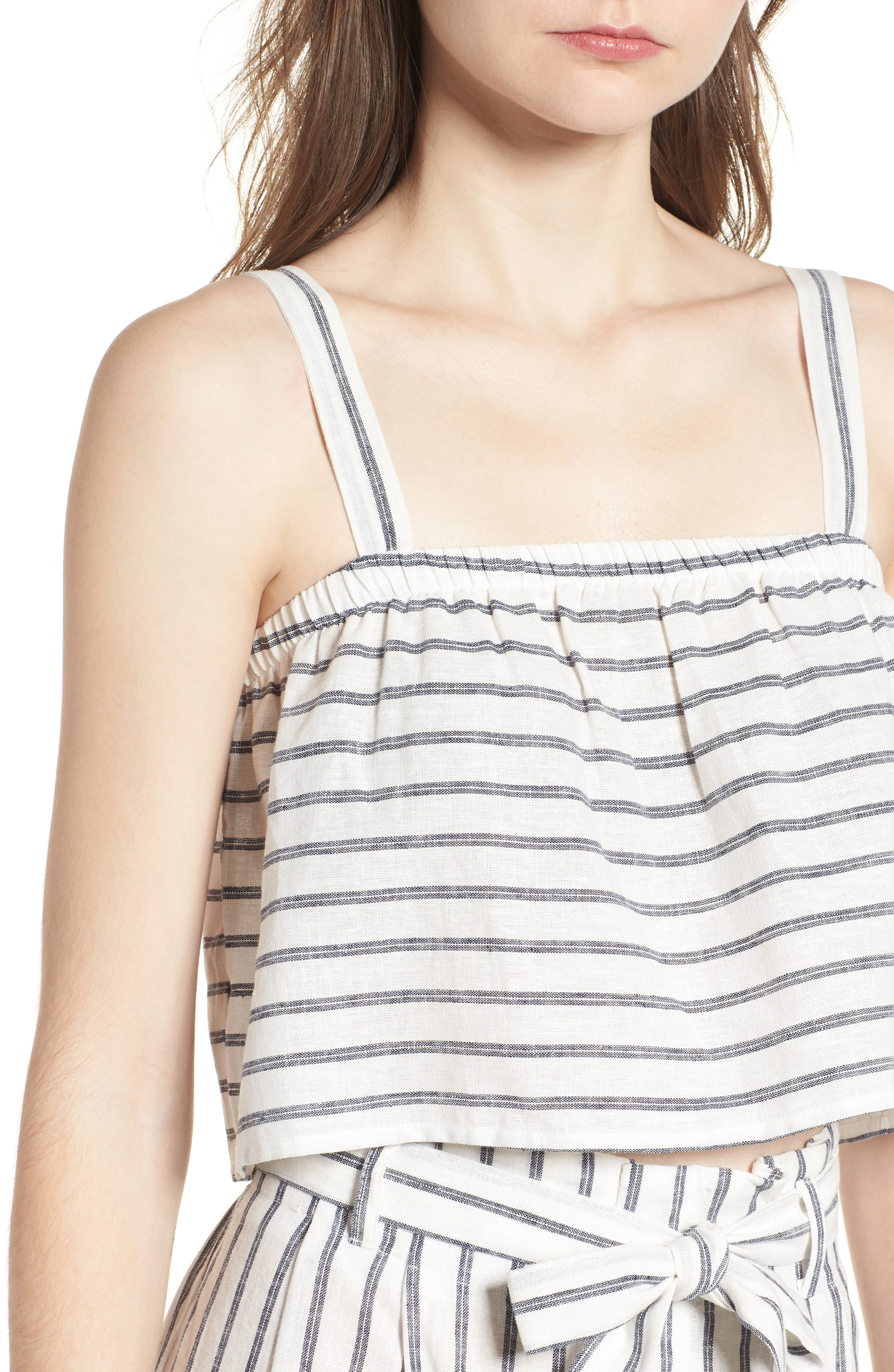 Stripe Linen & Cotton Crop Tank,                             Alternate thumbnail 4, color,                             904