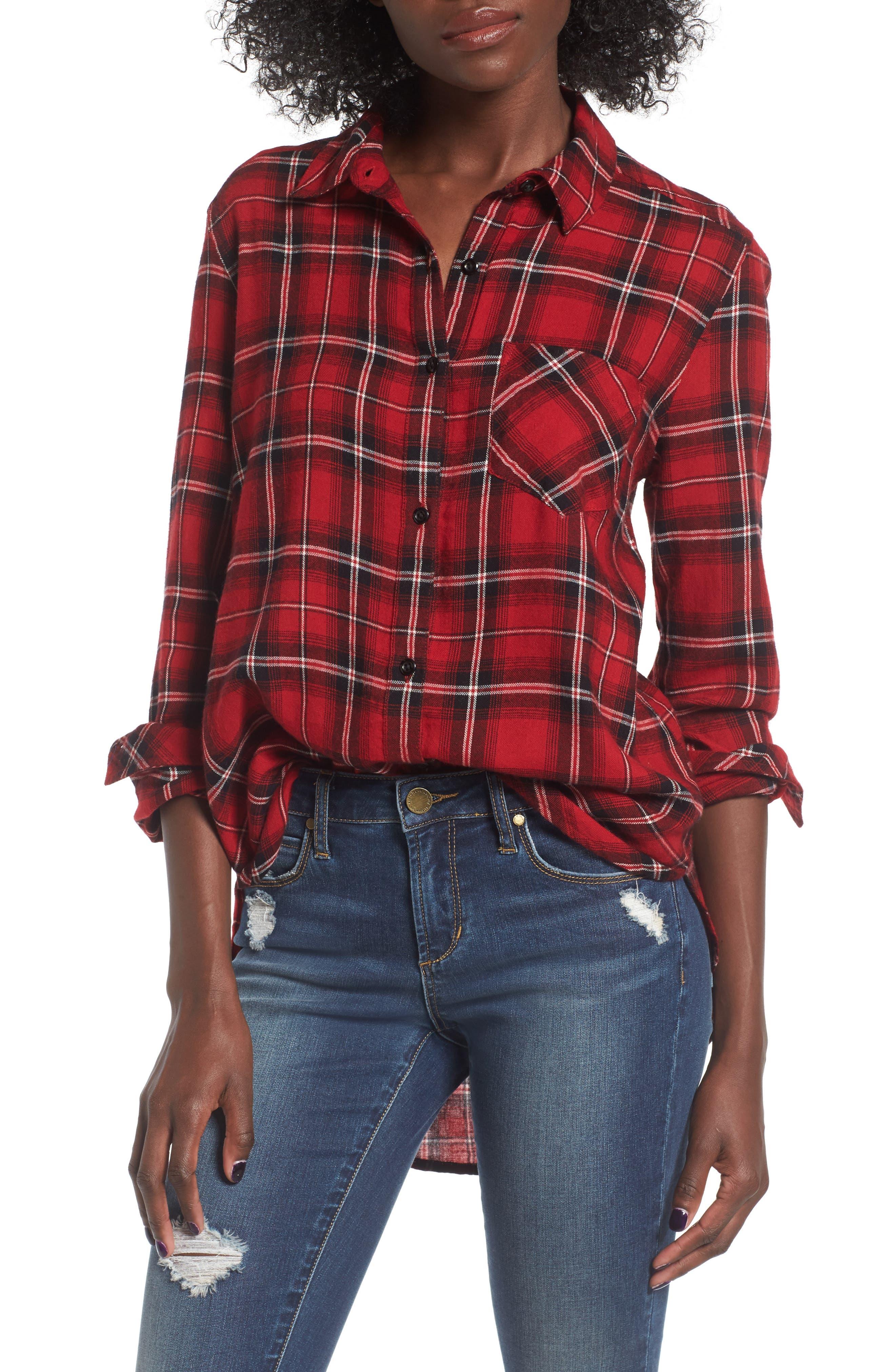 Plaid Cotton Blend Shirt,                             Main thumbnail 4, color,