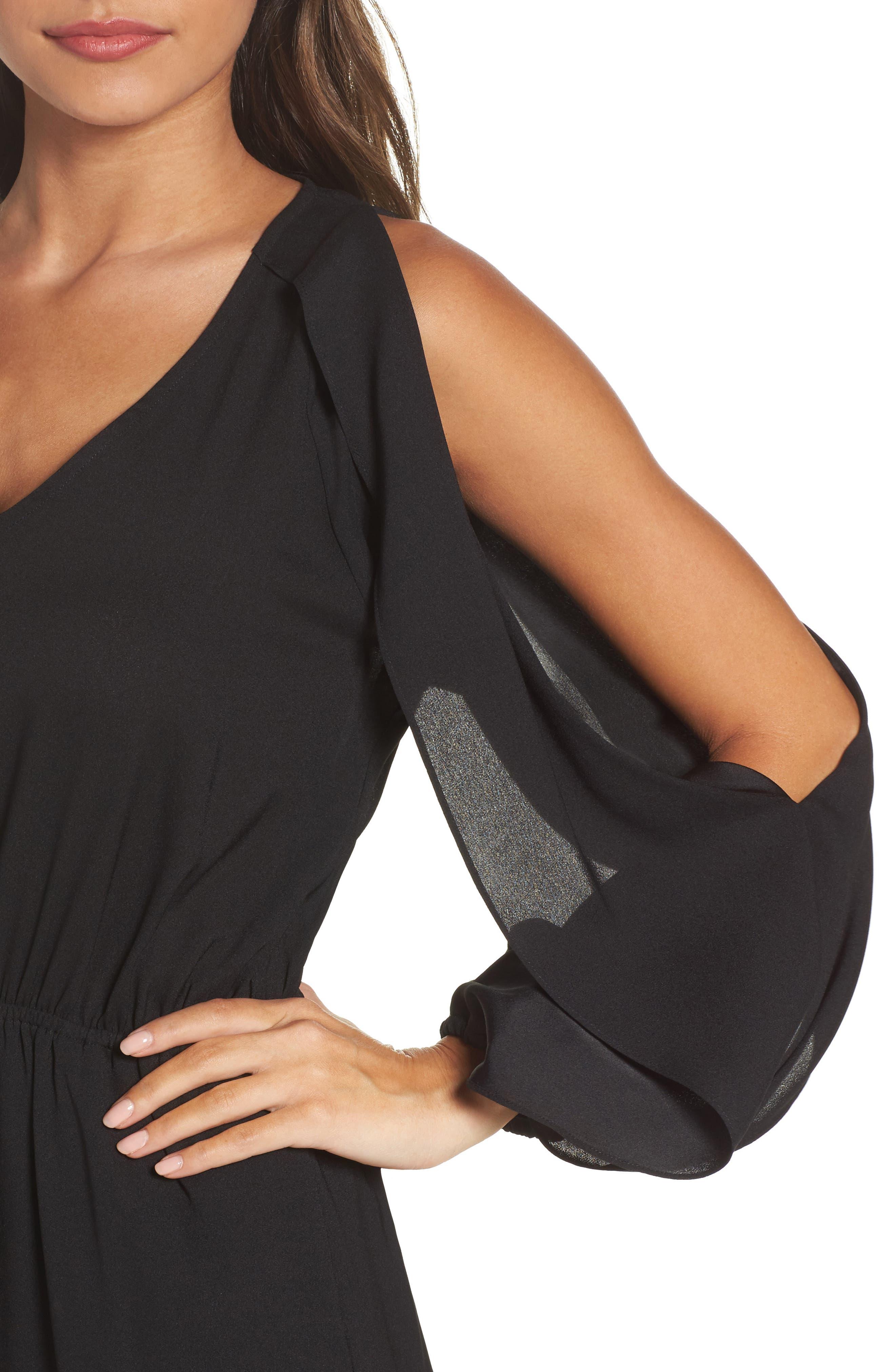 Cold Shoulder Dress,                             Alternate thumbnail 4, color,                             001