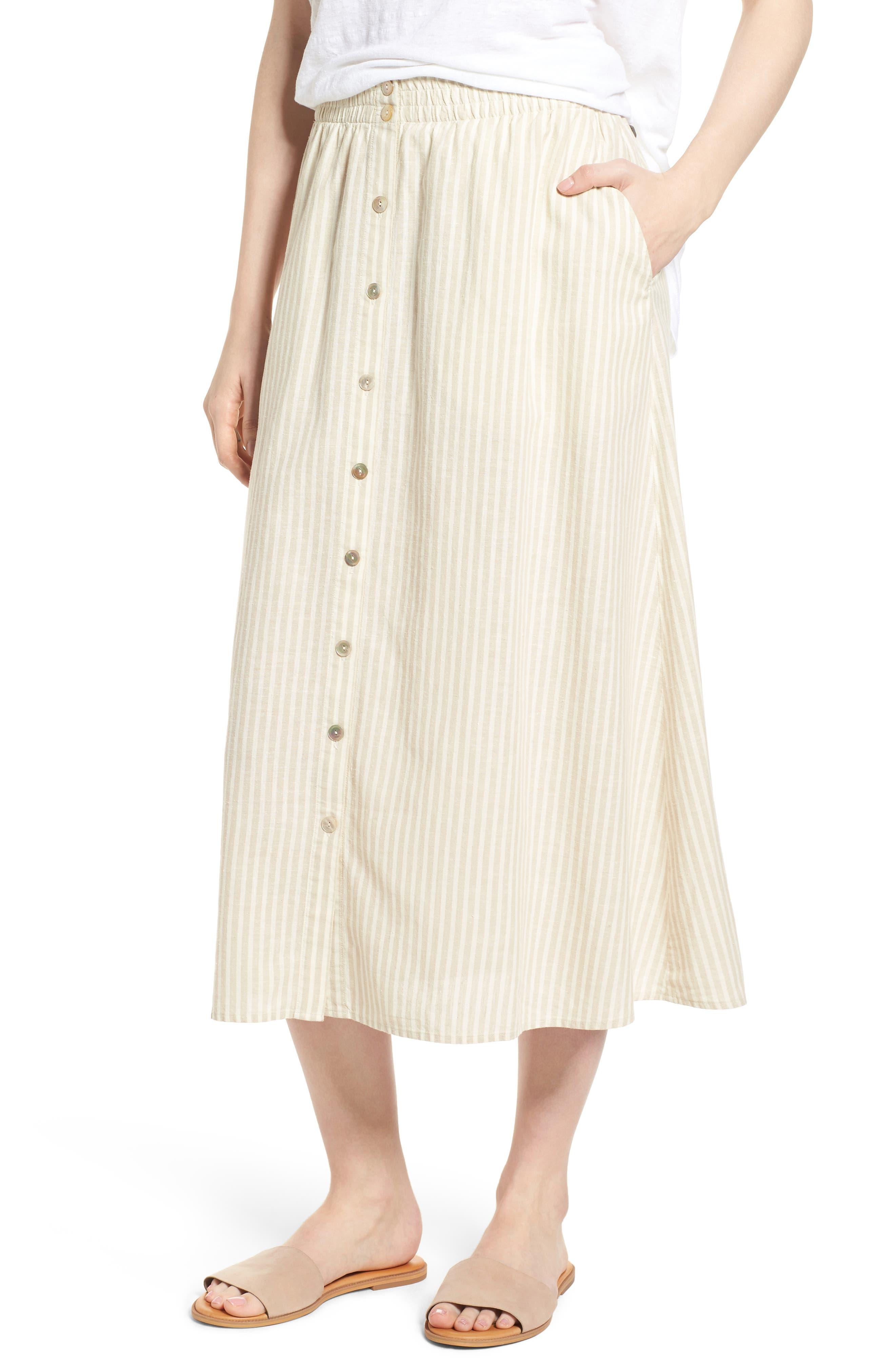 EILEEN FISHER,                             Stripe Hemp & Organic Cotton Midi Skirt,                             Main thumbnail 1, color,                             257