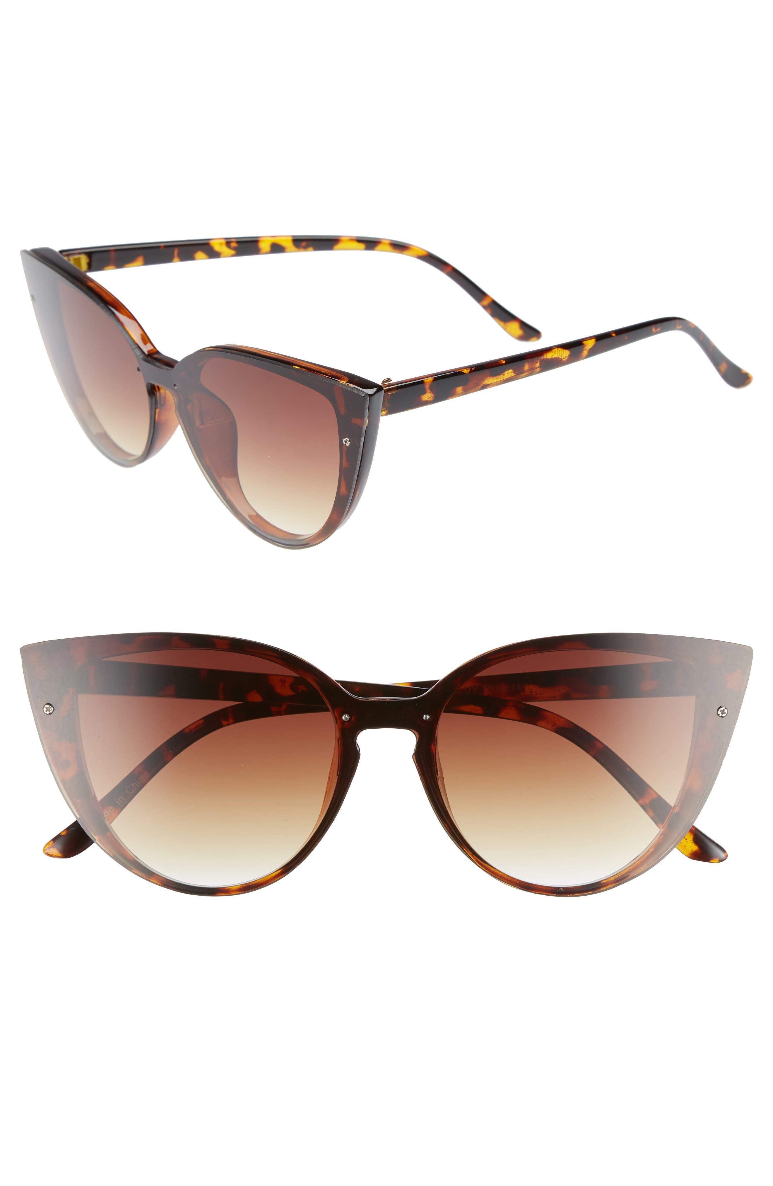 52mm Flat Cat Eye Sunglasses,                         Main,                         color, 200