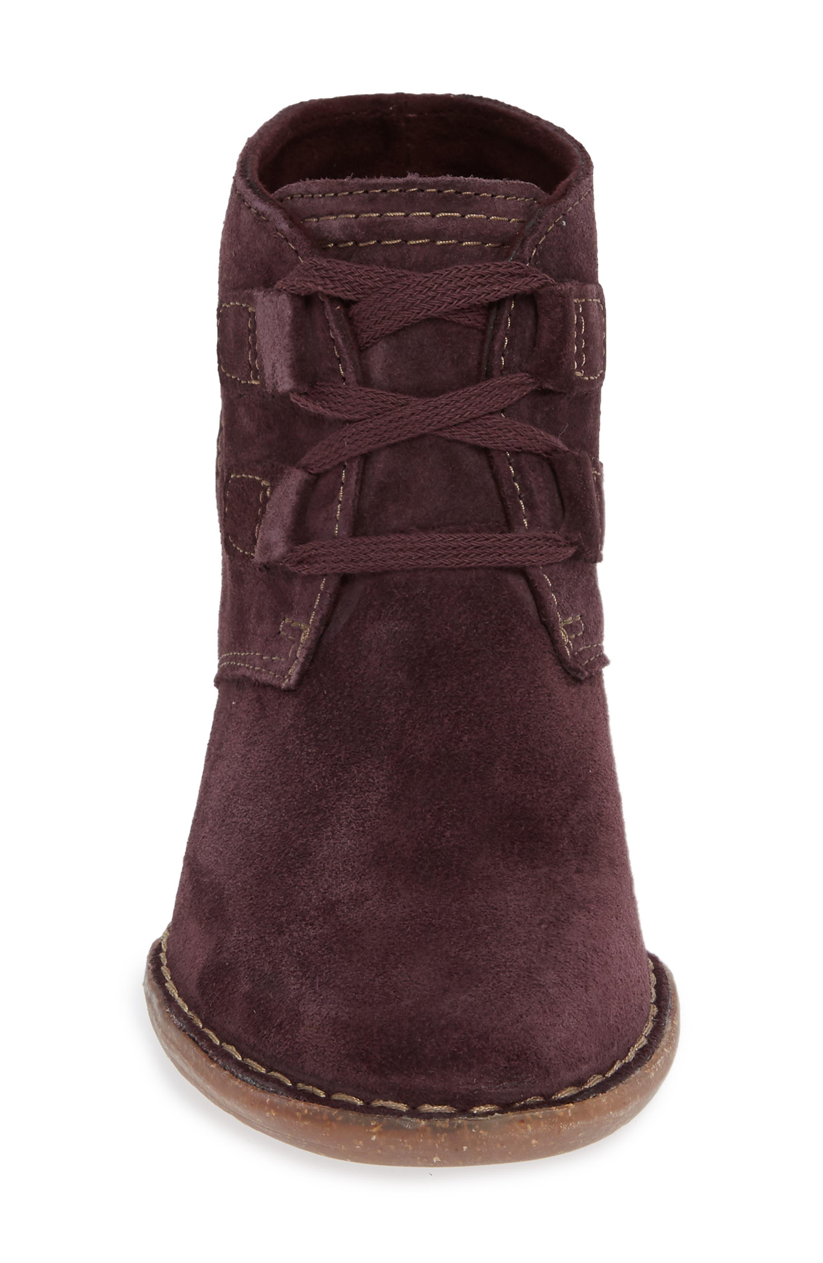'Carleta Lyon' Ankle Boot,                             Alternate thumbnail 4, color,                             AUBERGINE SUEDE