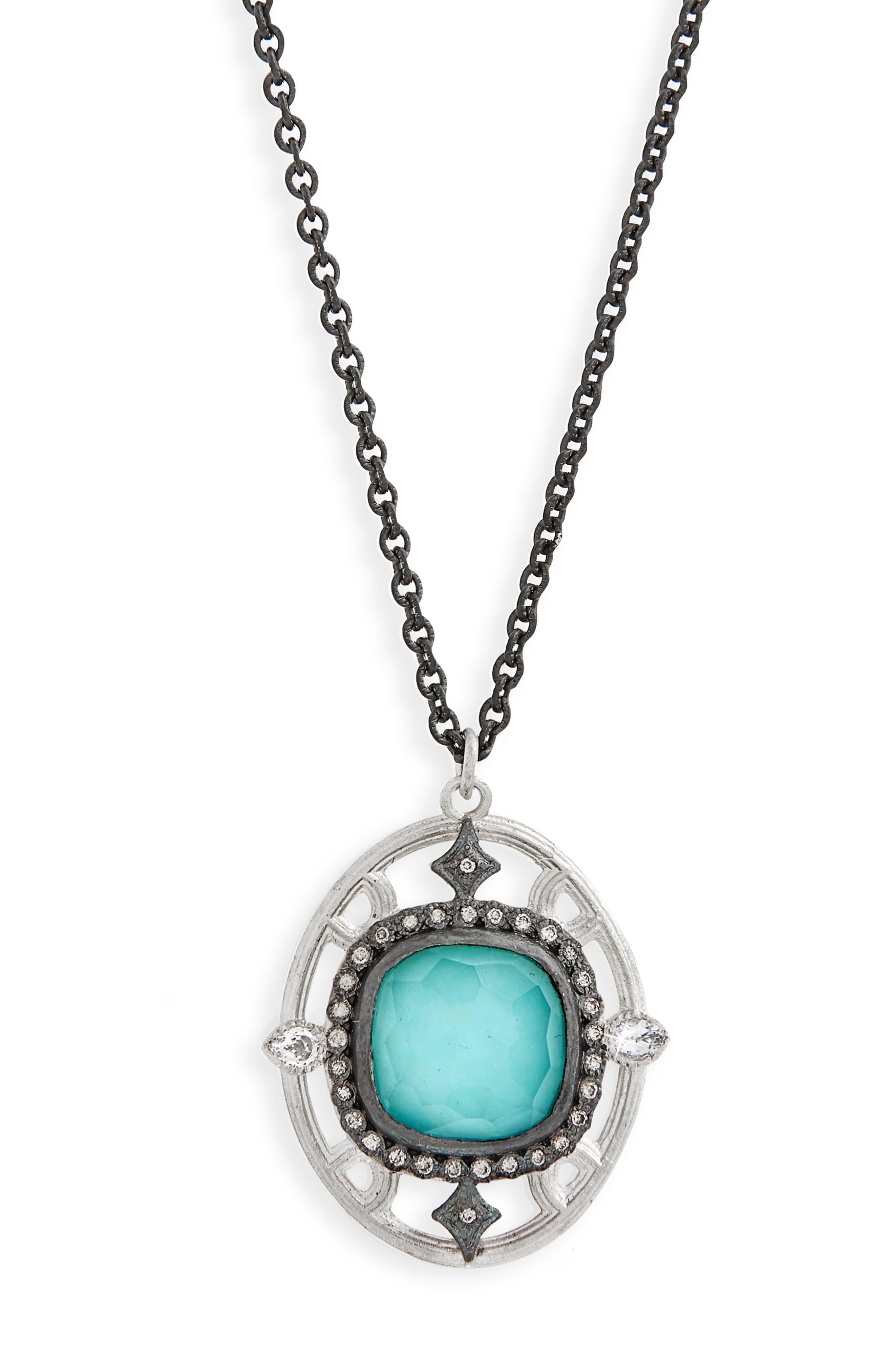 New World Crivelli Oval Drop Pendant Necklace,                             Main thumbnail 1, color,                             SILVER/ TURQUOISE