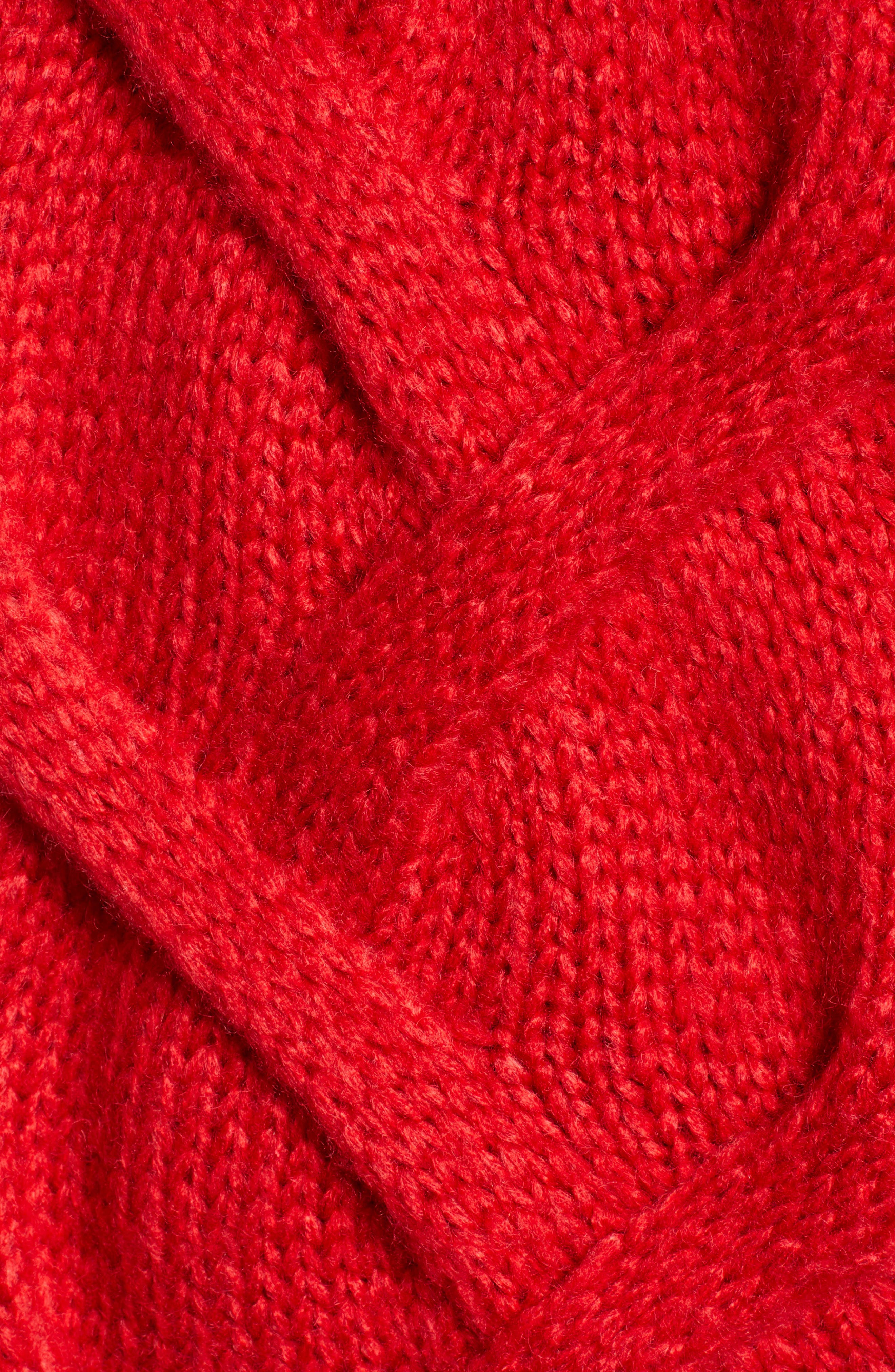 Cable Mock Neck Sweater,                             Alternate thumbnail 5, color,                             RED