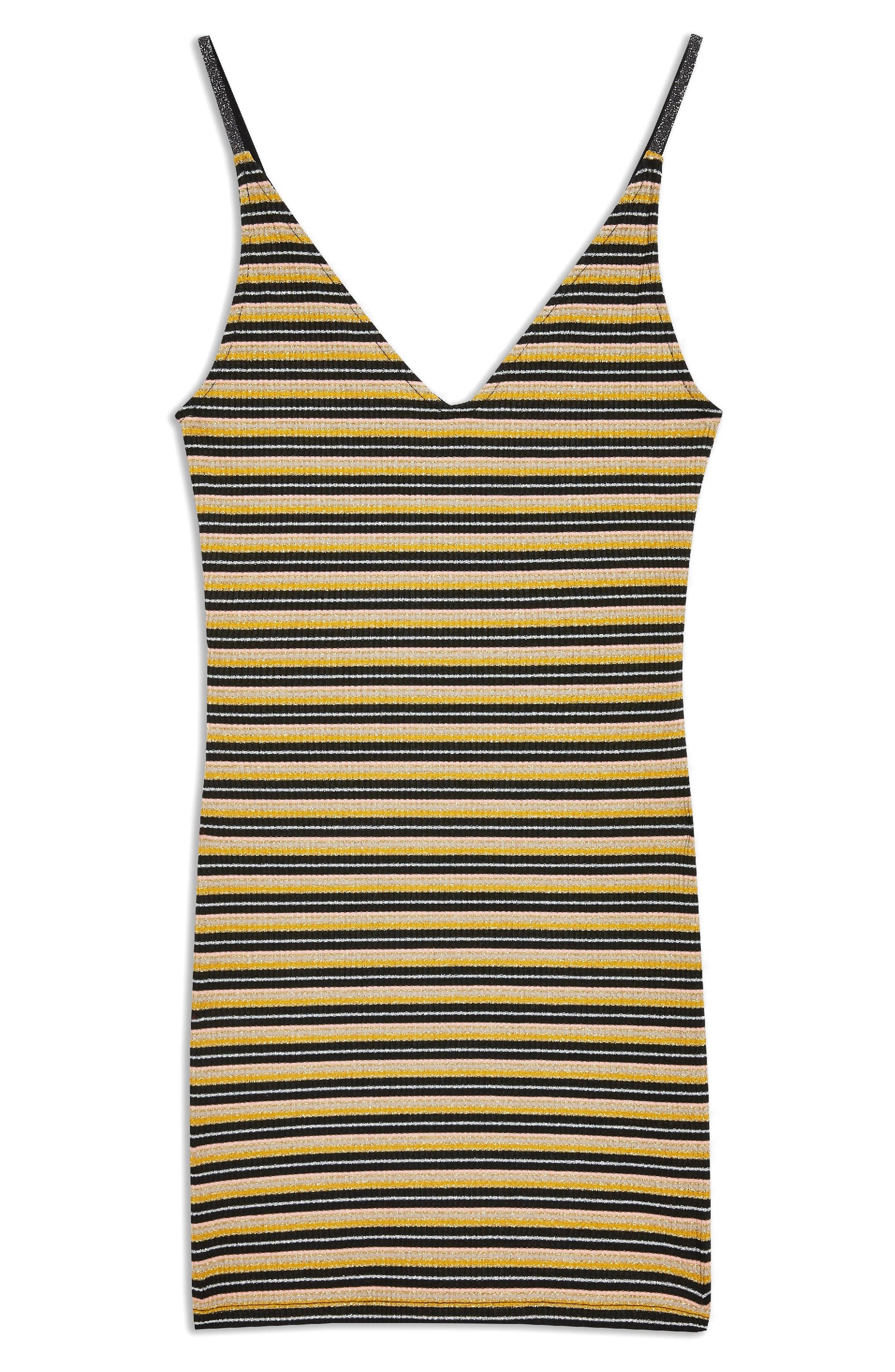 Metallic Stripe Body-Con Dress,                             Alternate thumbnail 6, color,                             BLACK MULTI
