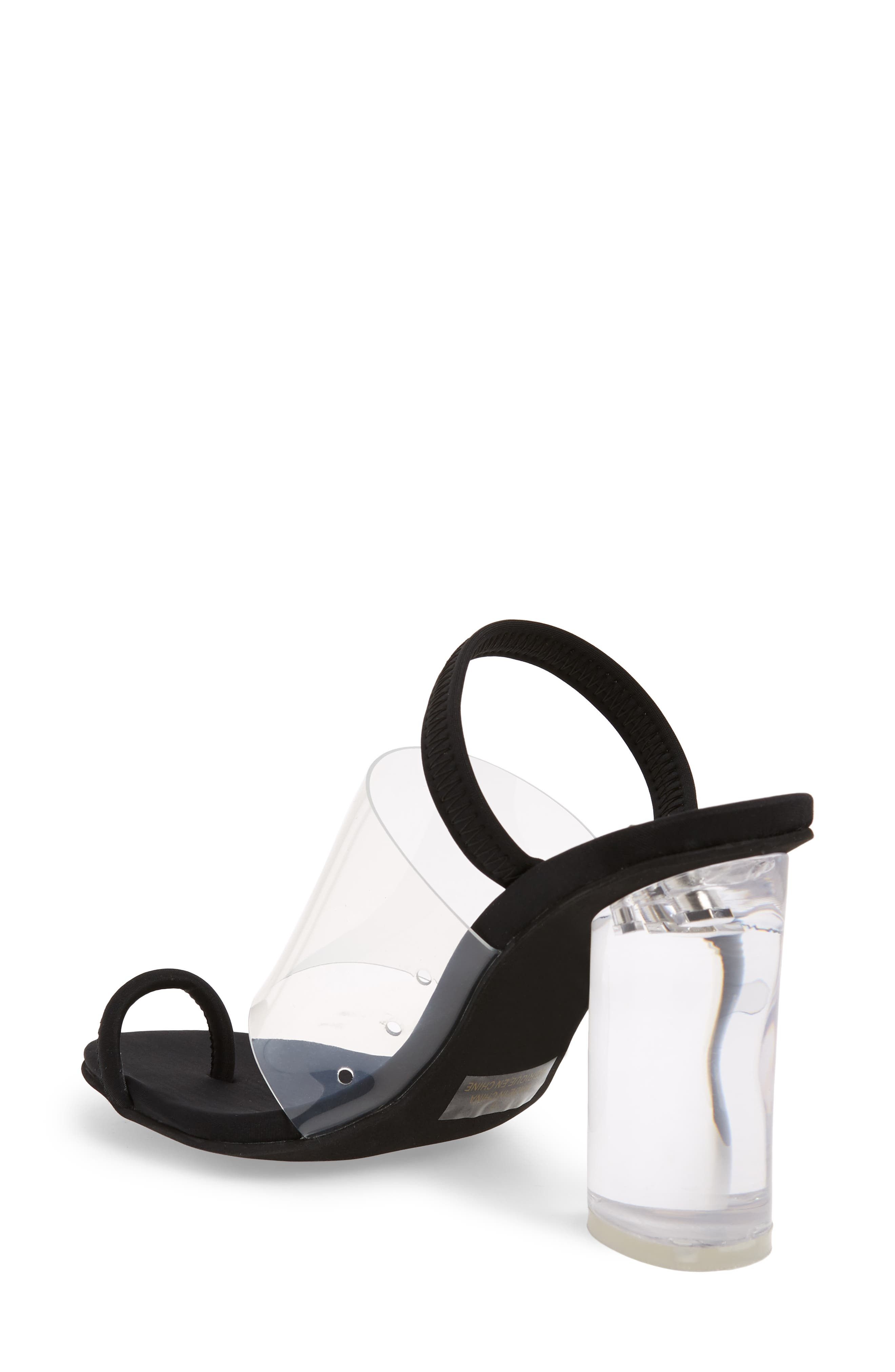 Mania Clear Toe Loop Sandal,                             Alternate thumbnail 2, color,                             BLACK FABRIC