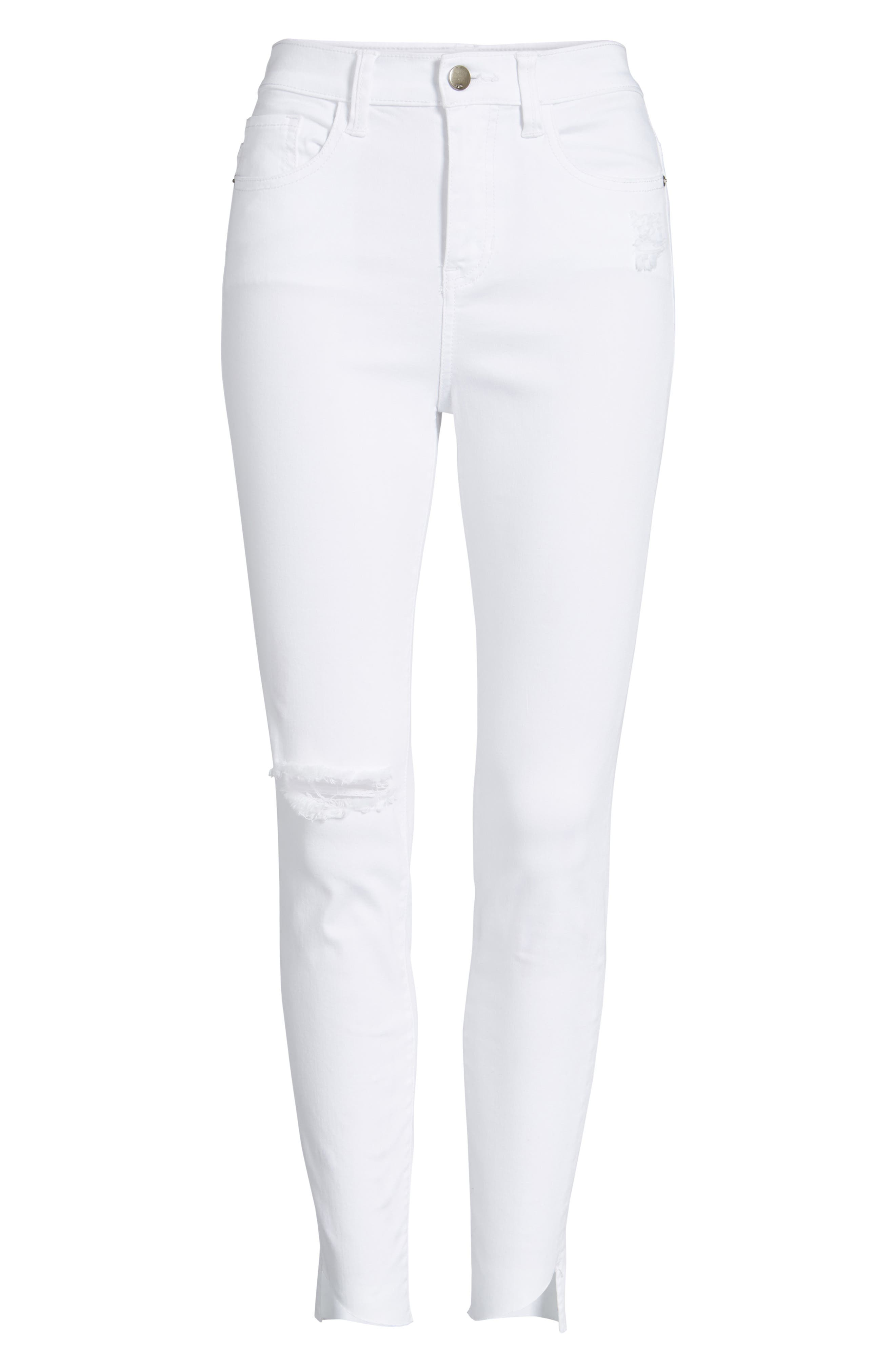 Angled Step Hem Skinny Jeans,                             Alternate thumbnail 6, color,                             100