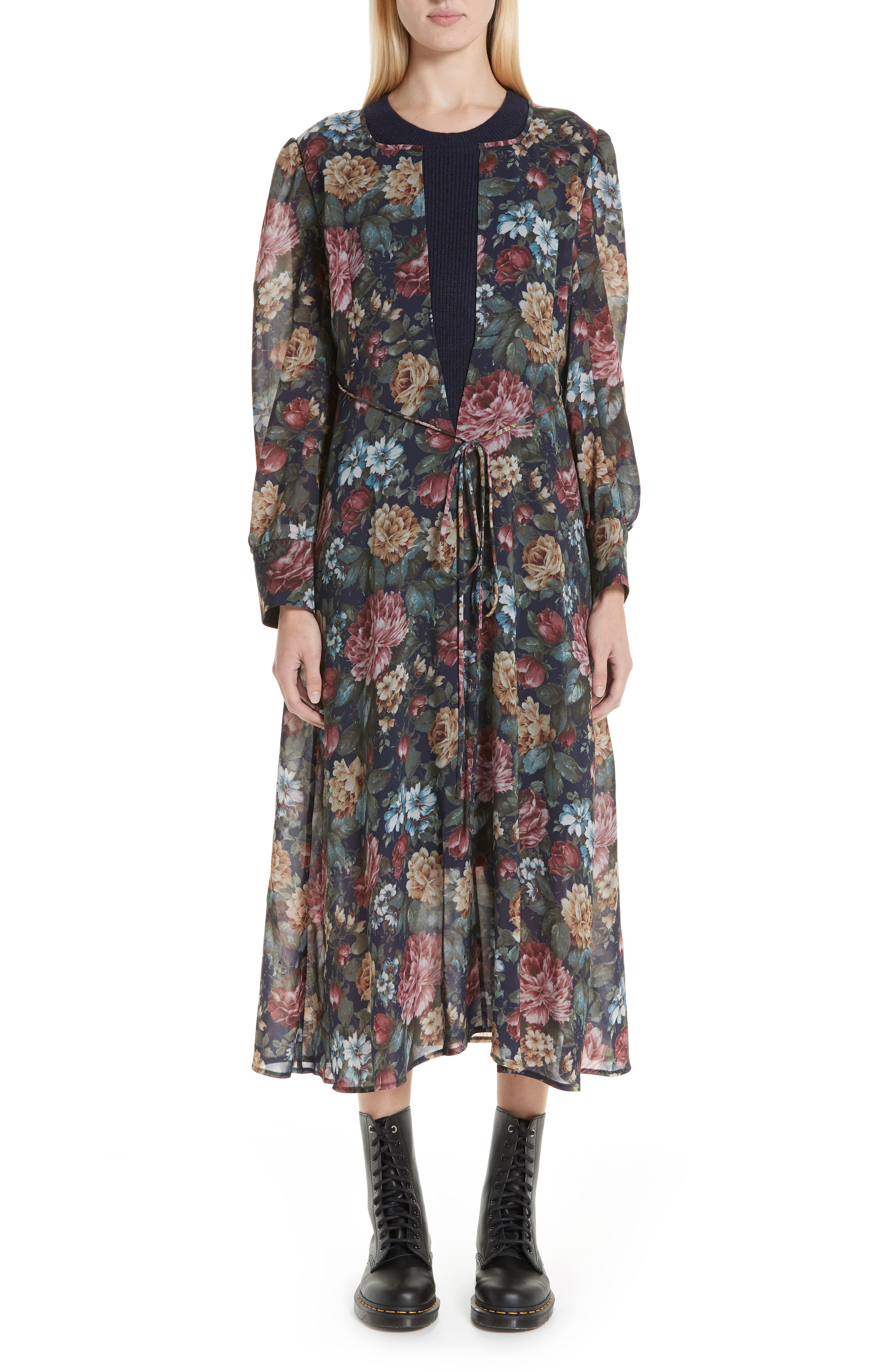 Knit Collar Floral Chiffon Dress,                         Main,                         color, NAVY/ RED/ YELLOW
