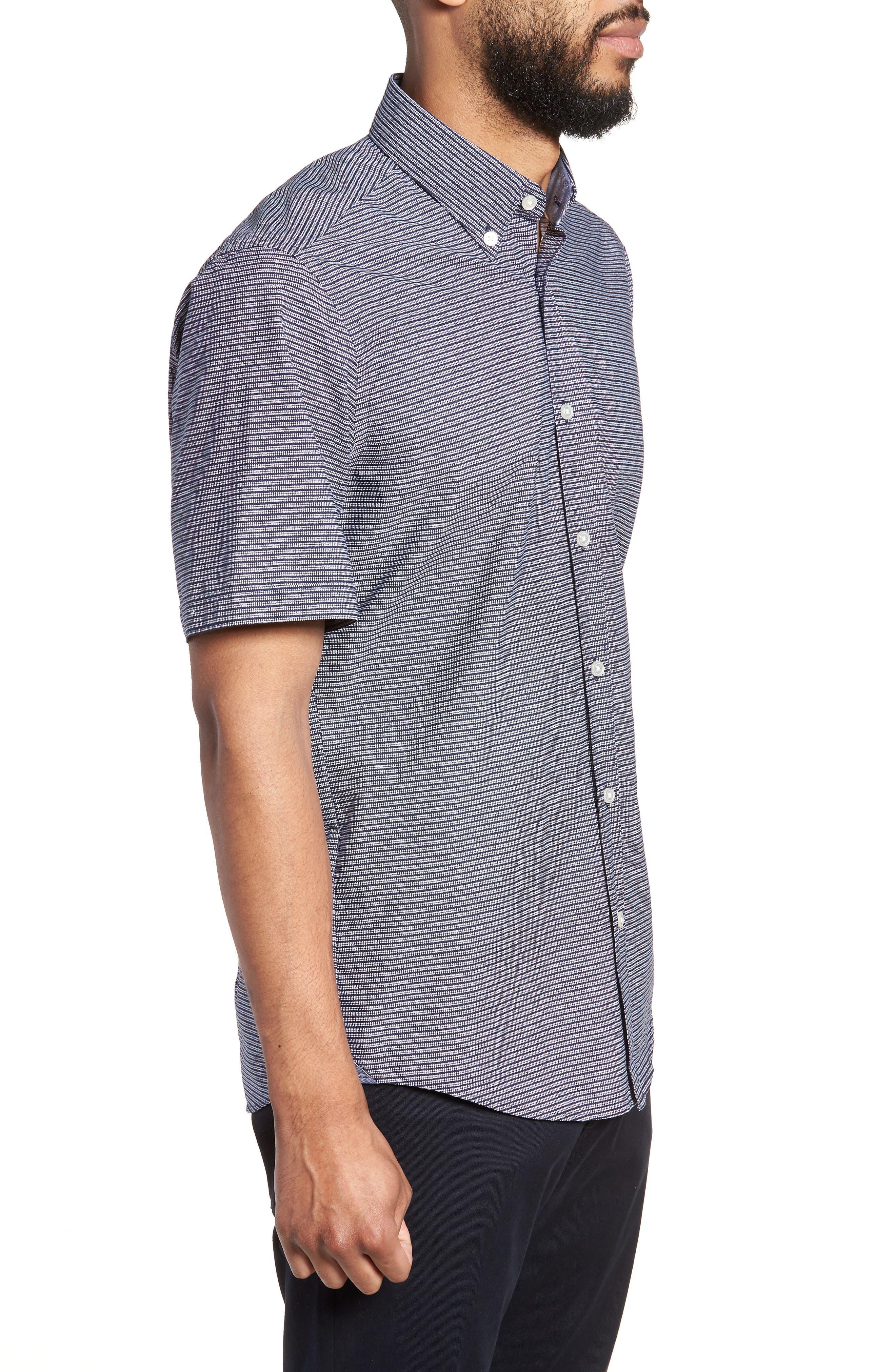 Lodi Stripe Sport Shirt,                             Alternate thumbnail 3, color,                             BLUE