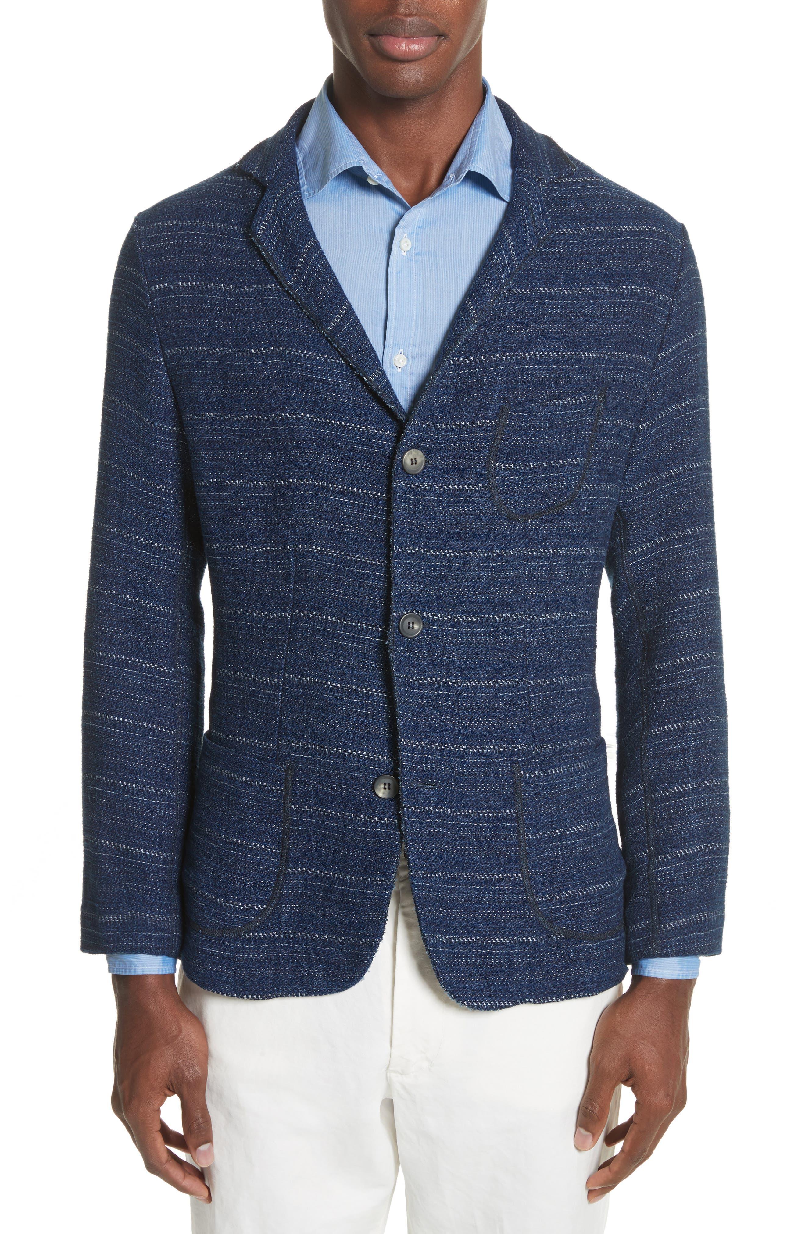 Napoli Nicola Barre Stripe Cotton & Linen Jacket,                             Main thumbnail 1, color,                             410