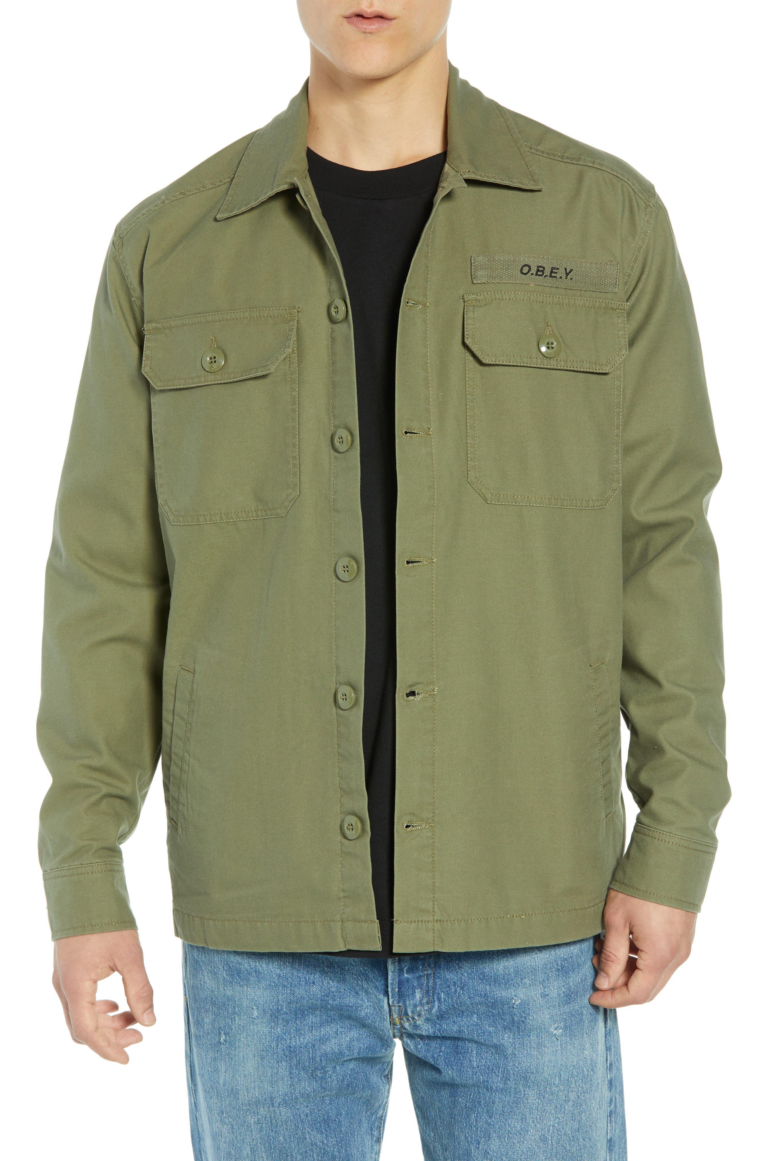 Men's Vintage Workwear – 1920s, 1930s, 1940s, 1950s Mens Obey Station Shirt Jacket Size XX-Large - Green $80.00 AT vintagedancer.com