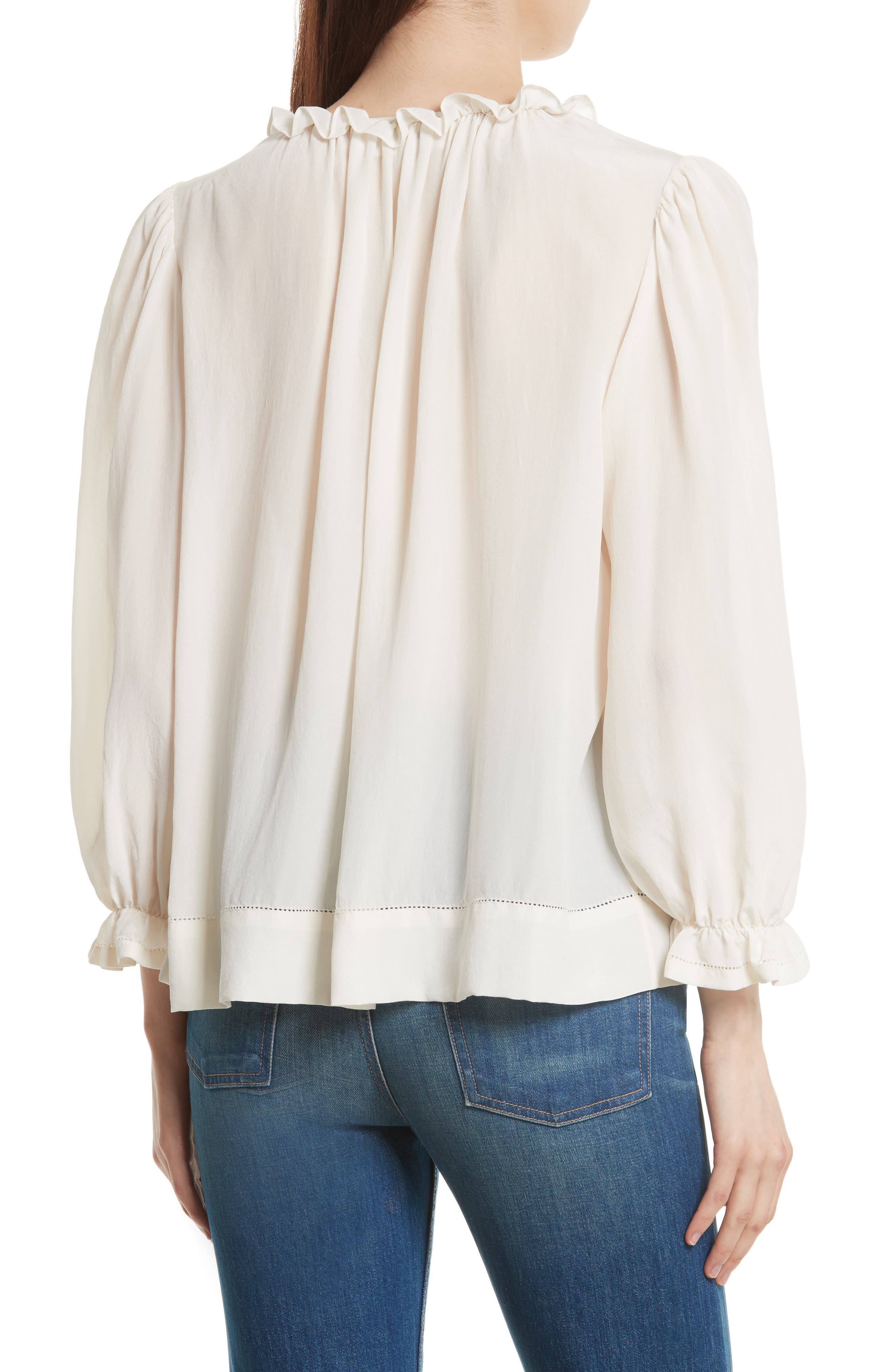 The Long Sleeve Story Silk Top,                             Alternate thumbnail 2, color,                             900