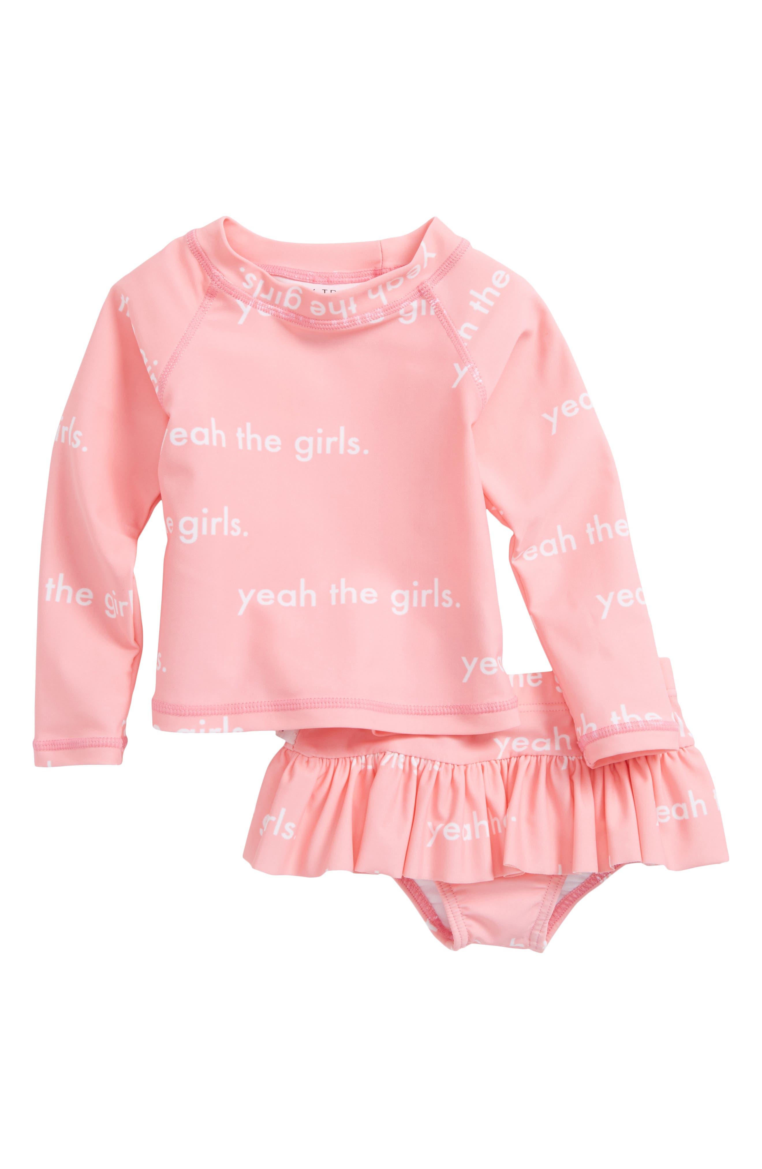 Yeah the Girls Two-Piece Rashguard Swim Suit,                         Main,                         color, 685