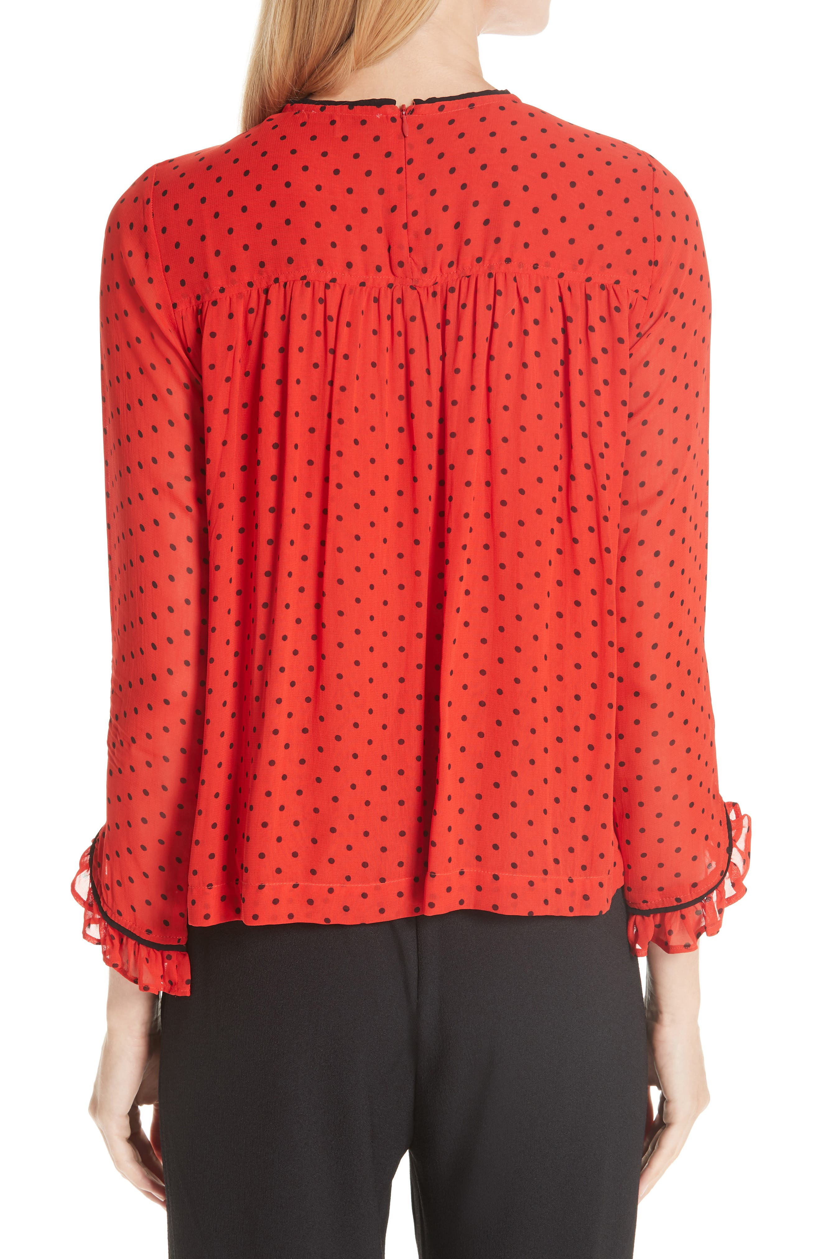 Mullin Print Georgette Blouse,                             Alternate thumbnail 2, color,                             FIERY RED 403