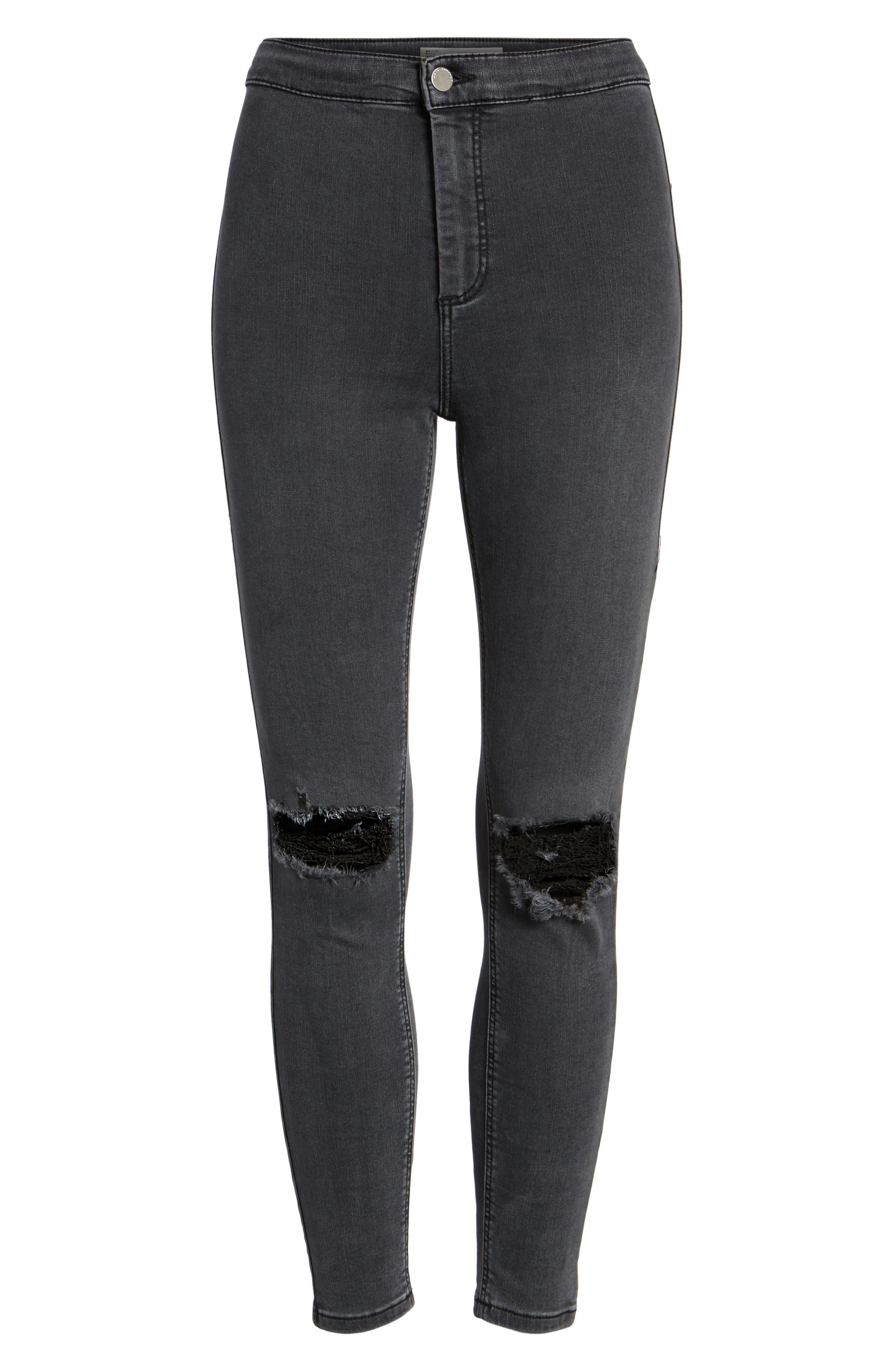 Joni Ripped Crop Skinny Jeans,                             Alternate thumbnail 6, color,                             001