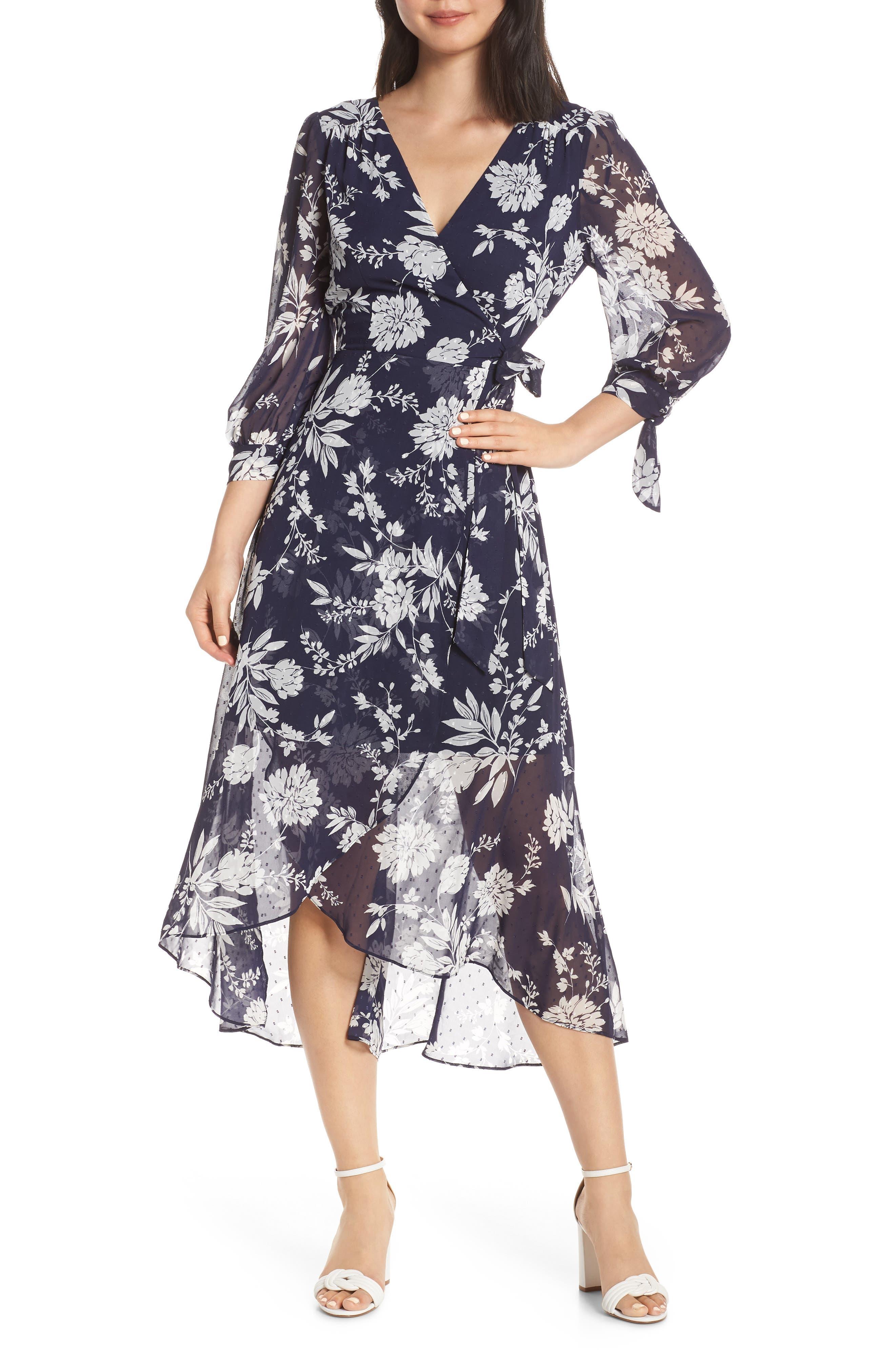 Eliza J Floral Print Faux Wrap Dress, Blue