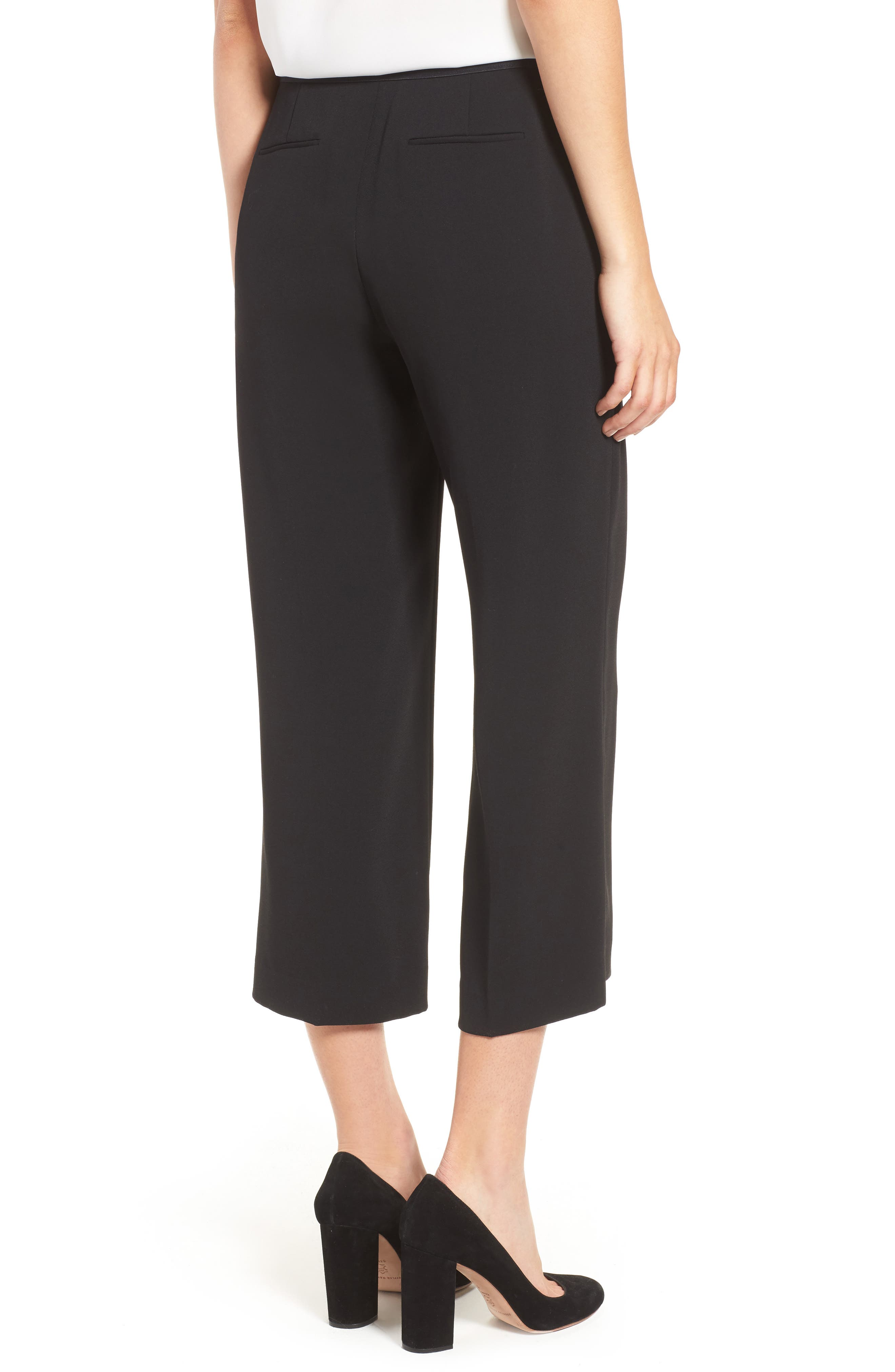 Moss Crepe Crop Trousers,                             Alternate thumbnail 2, color,                             001