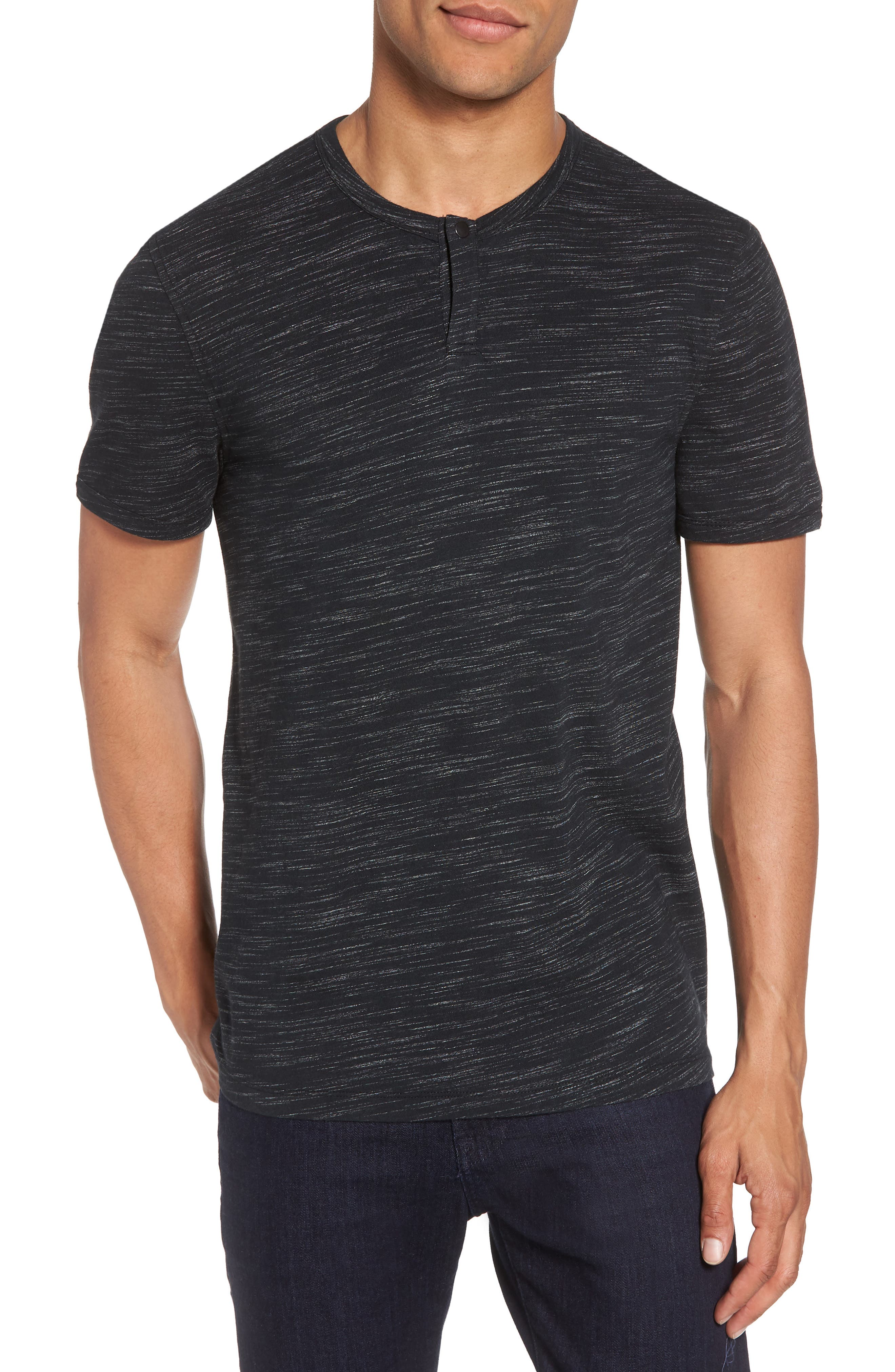 Space Dyed One-Button Henley T-Shirt,                         Main,                         color, 001