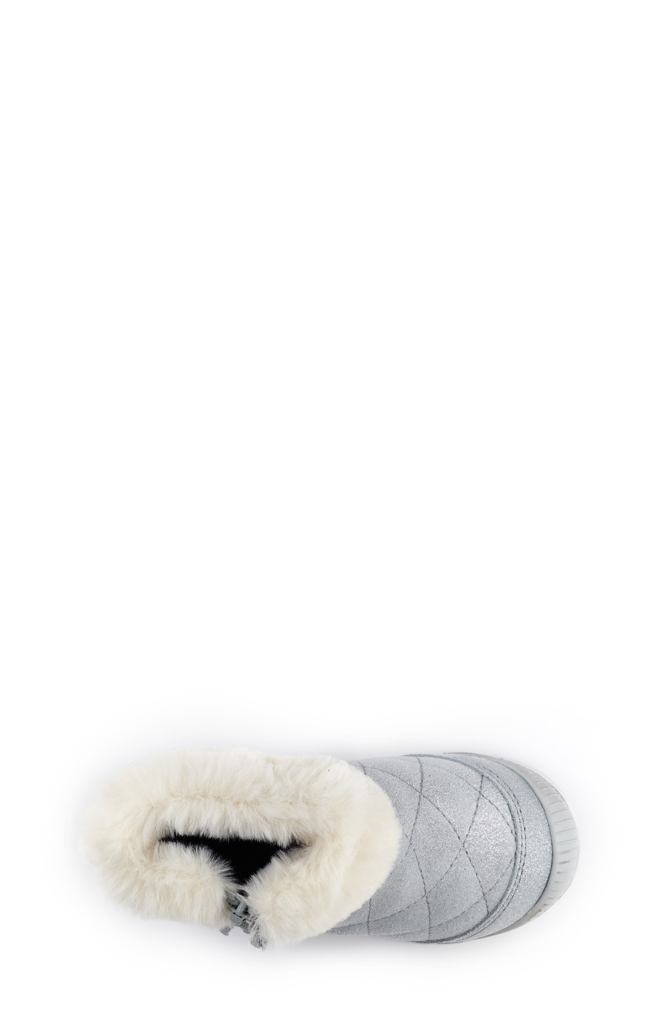 Chloe Faux Fur Quilted Bootie,                             Alternate thumbnail 4, color,                             SILVER