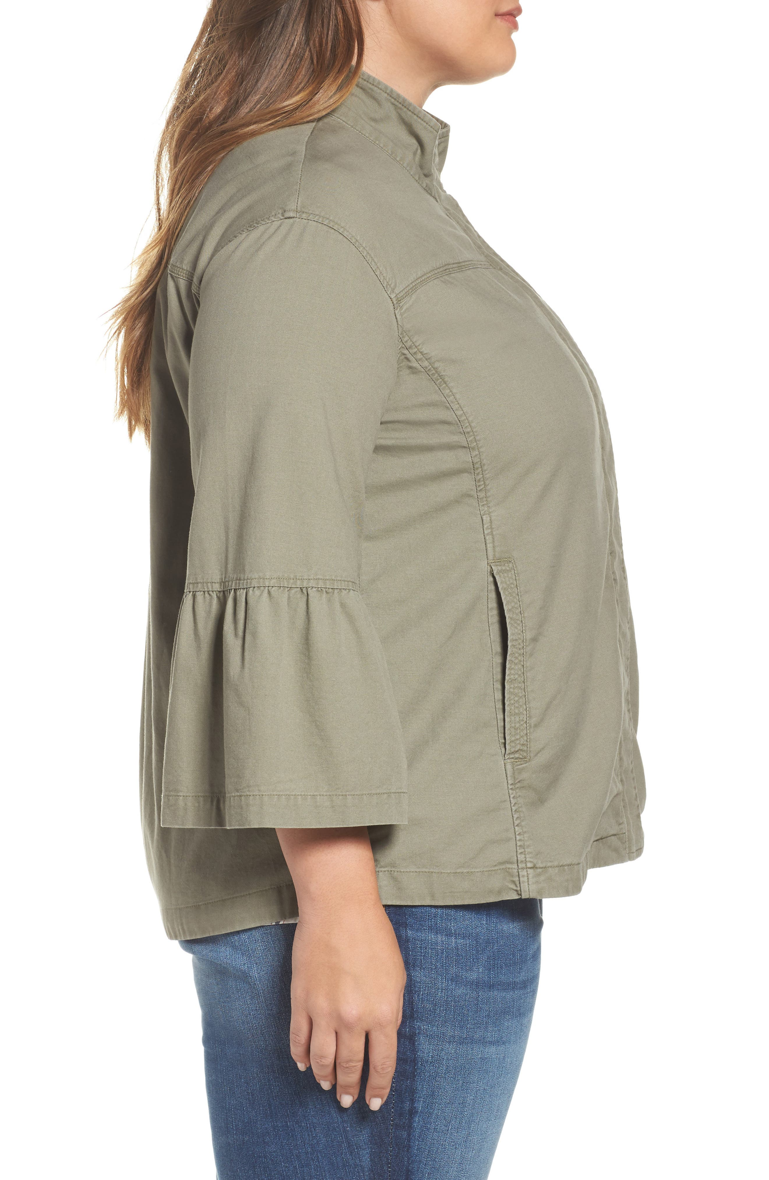 Bell Sleeve Utility Jacket,                             Alternate thumbnail 3, color,                             315