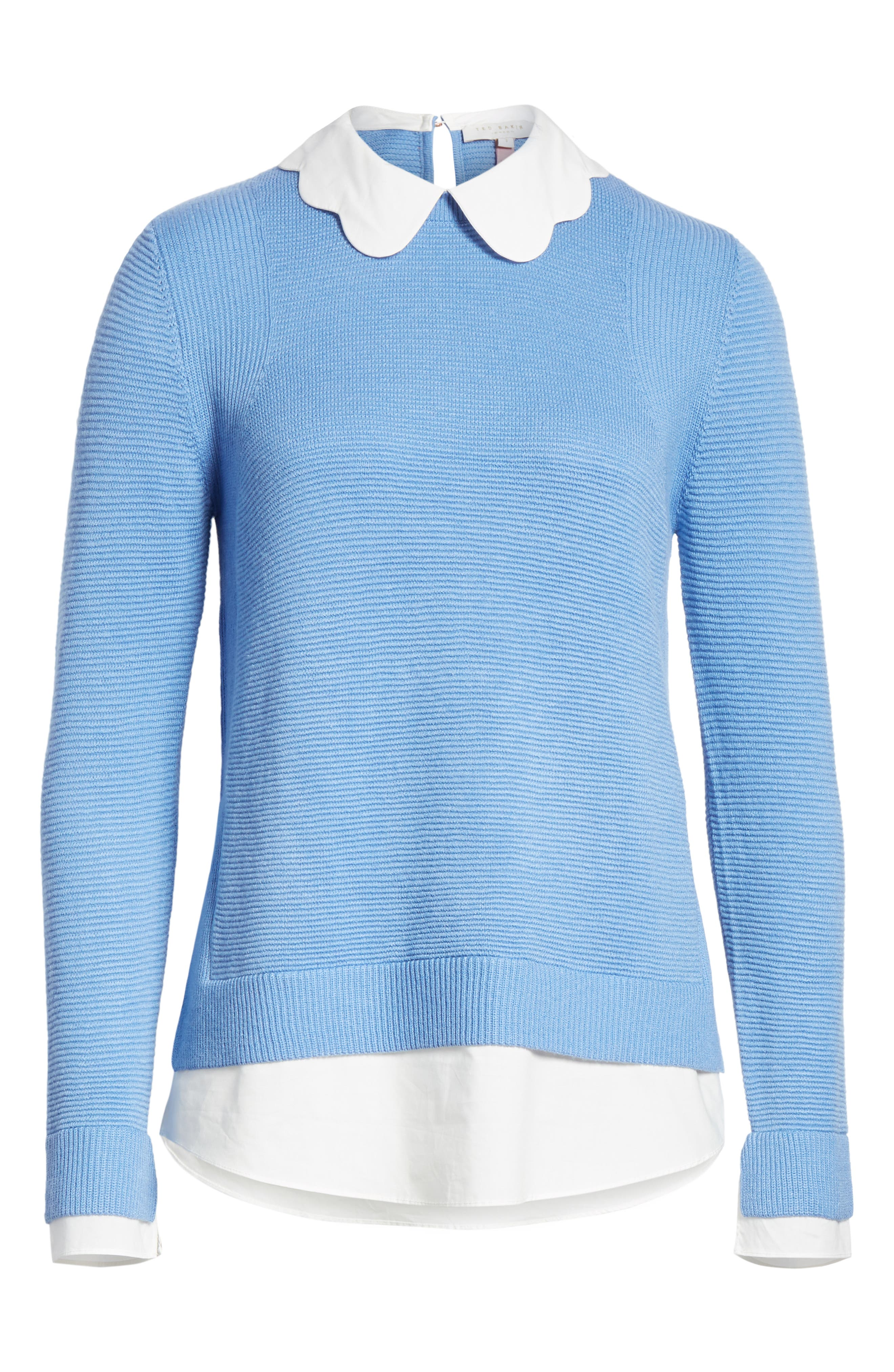 Bronwen Scalloped Collar Sweater,                             Alternate thumbnail 6, color,                             424