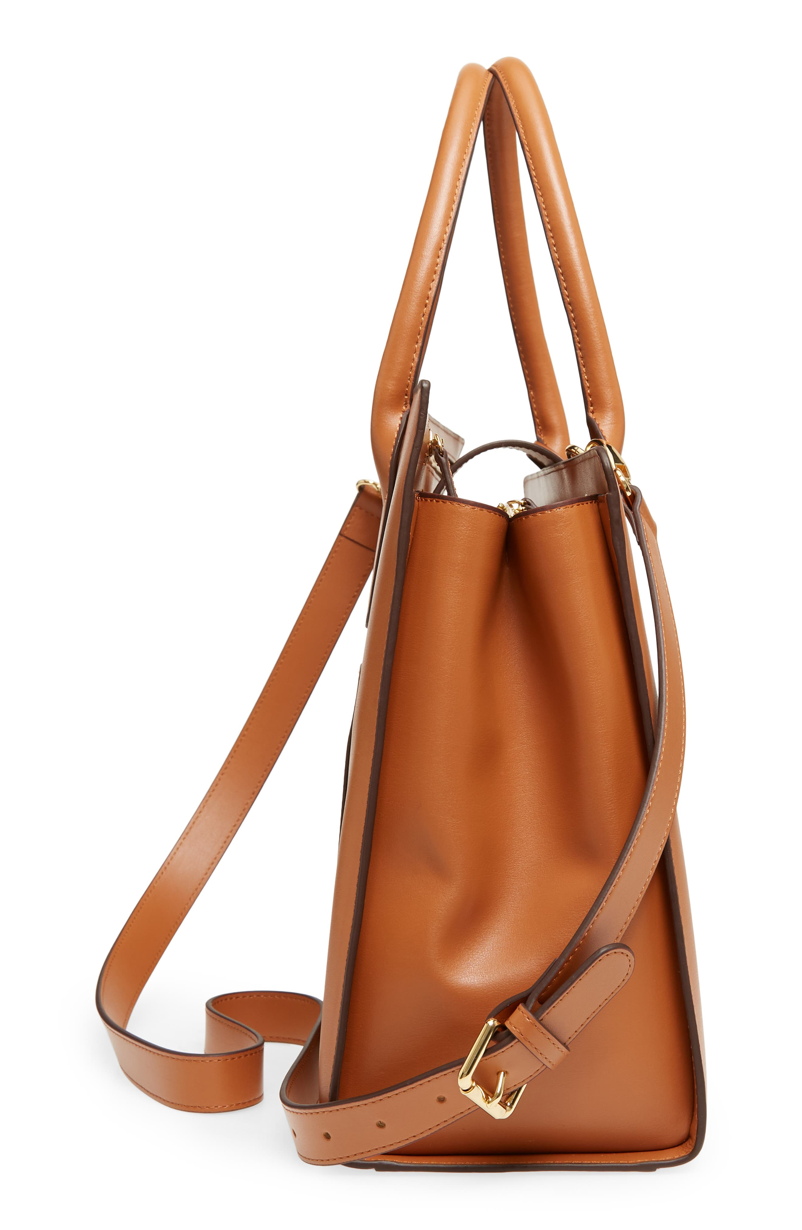 Rodeo Under Lock & Key – Gwyneth RFID Leather Tote,                             Alternate thumbnail 5, color,                             TOFFEE