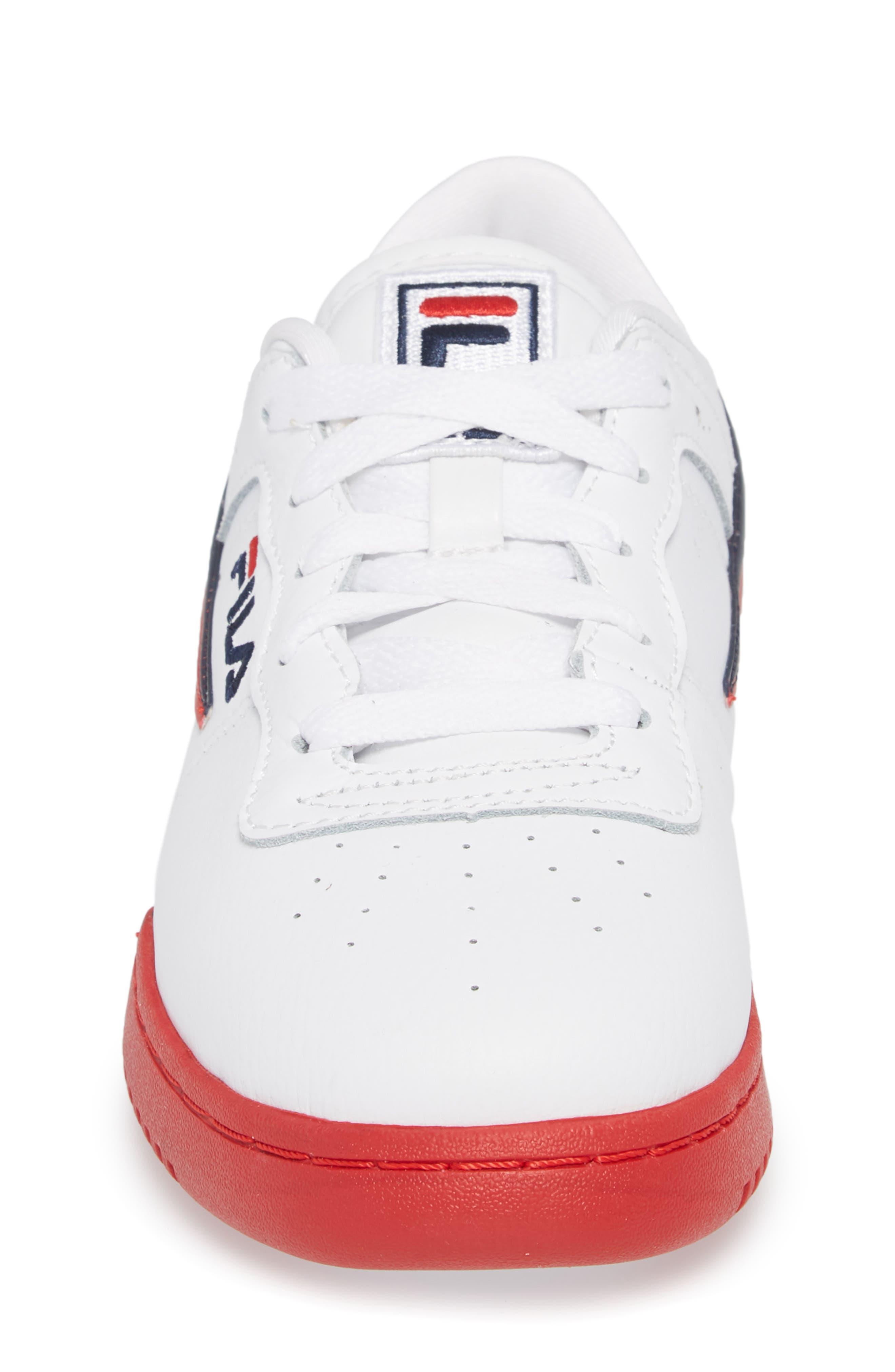 Original Fitness Sneaker,                             Alternate thumbnail 4, color,                             WHITE/ FILA RED
