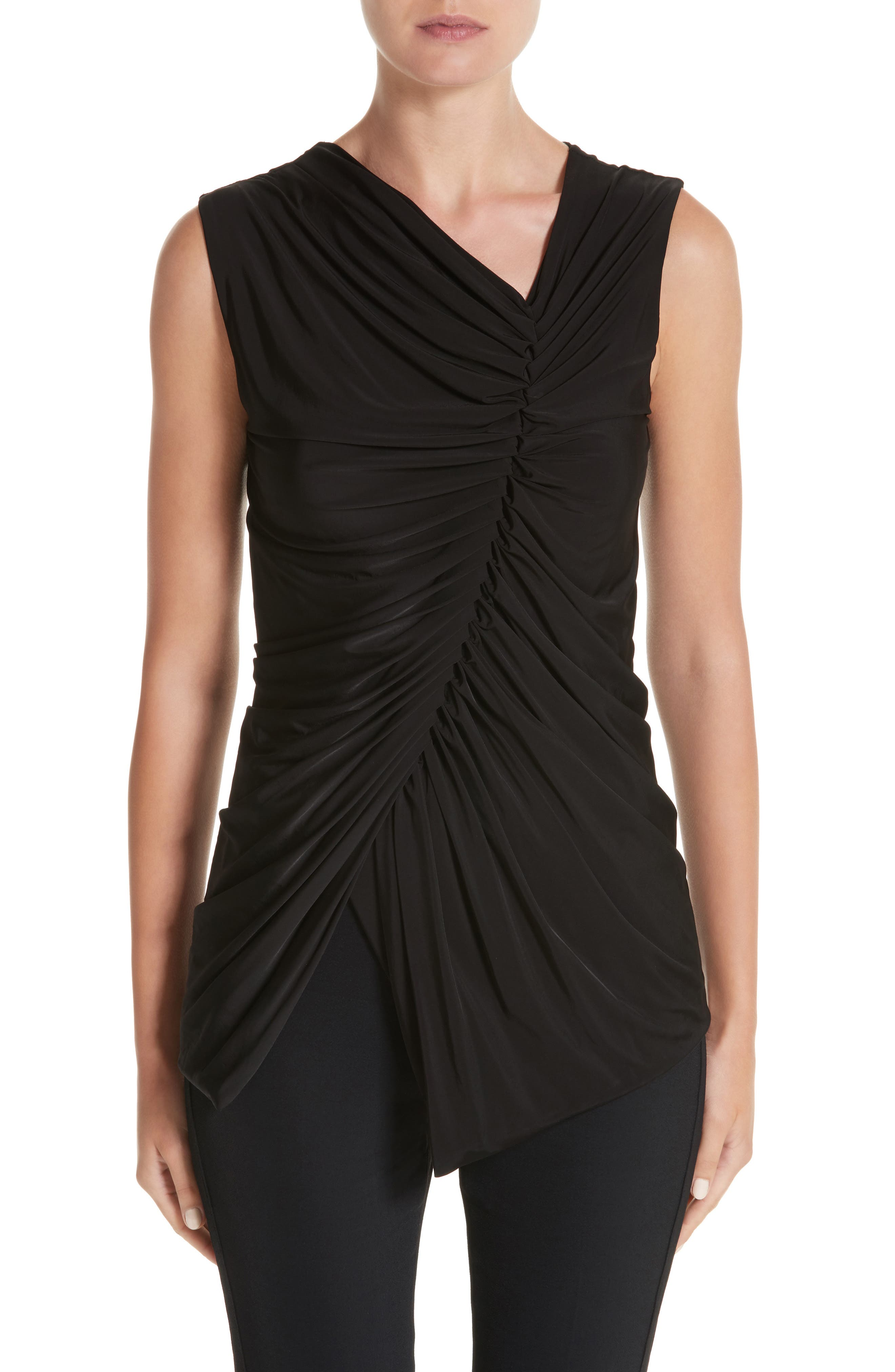 Jason Wu Asymmetrical Ruched Jersey Top,                         Main,                         color, 001