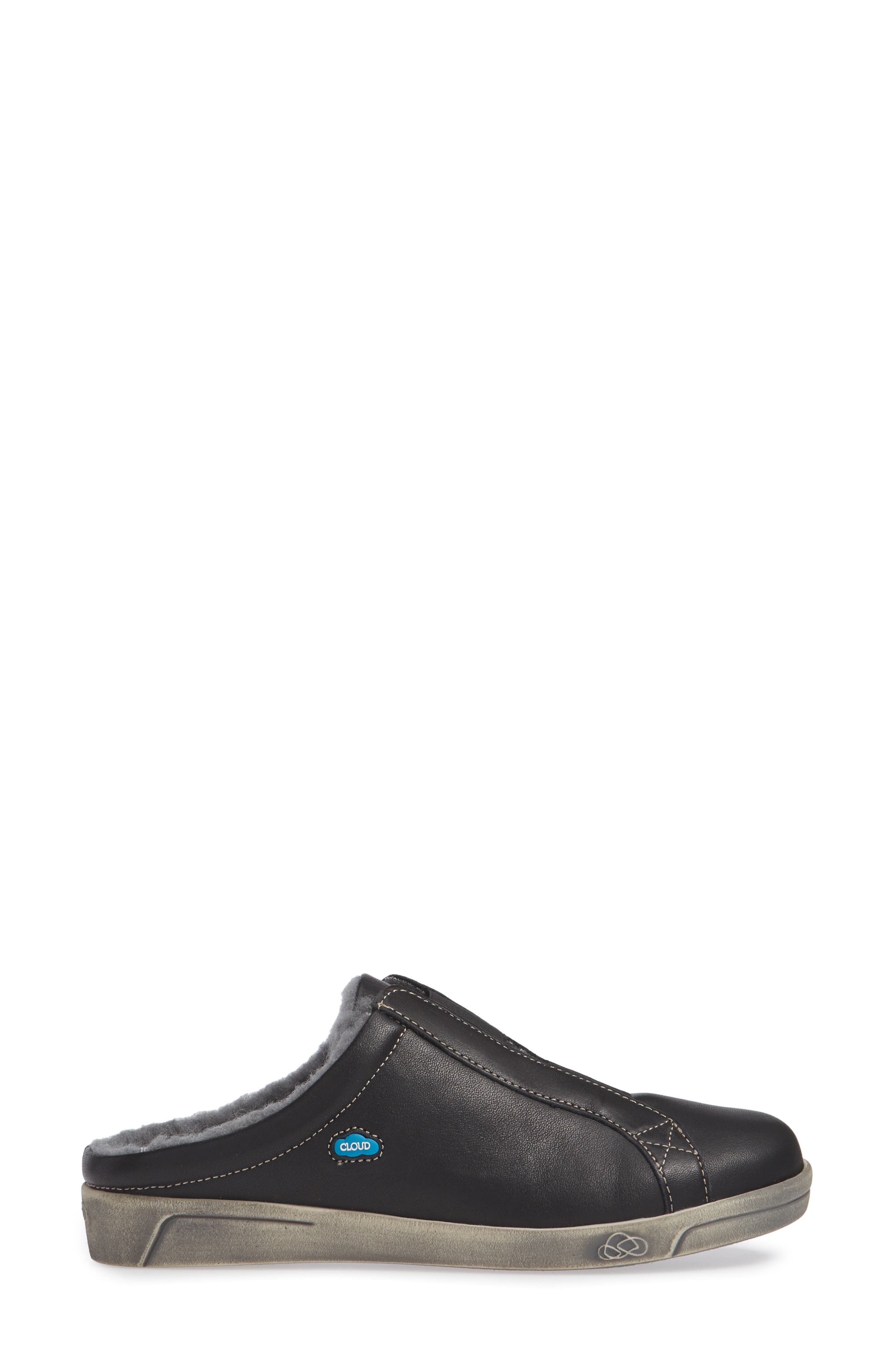 Alexis Wool Lined Backless Sneaker,                             Alternate thumbnail 3, color,                             BLACK LEATHER