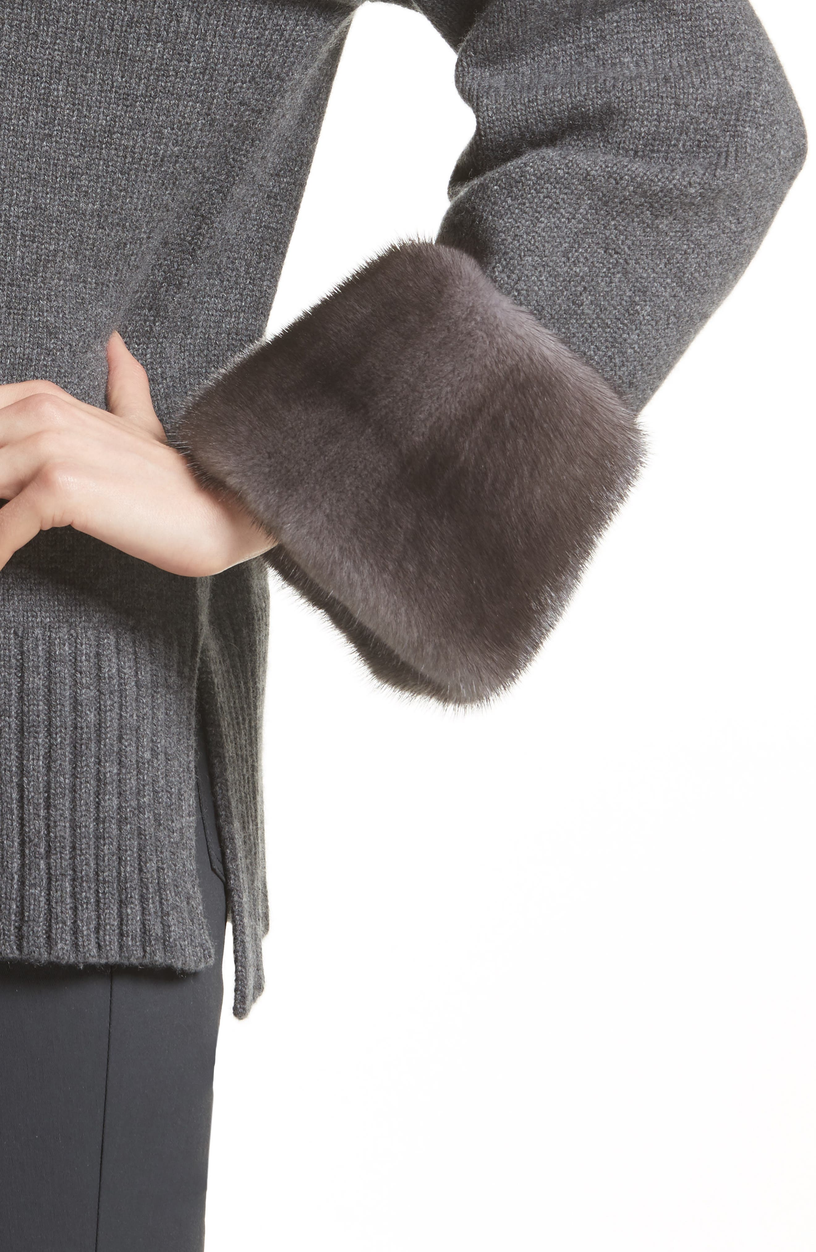 Cashmere Sweater with Genuine Mink Fur Cuffs,                             Alternate thumbnail 4, color,                             020