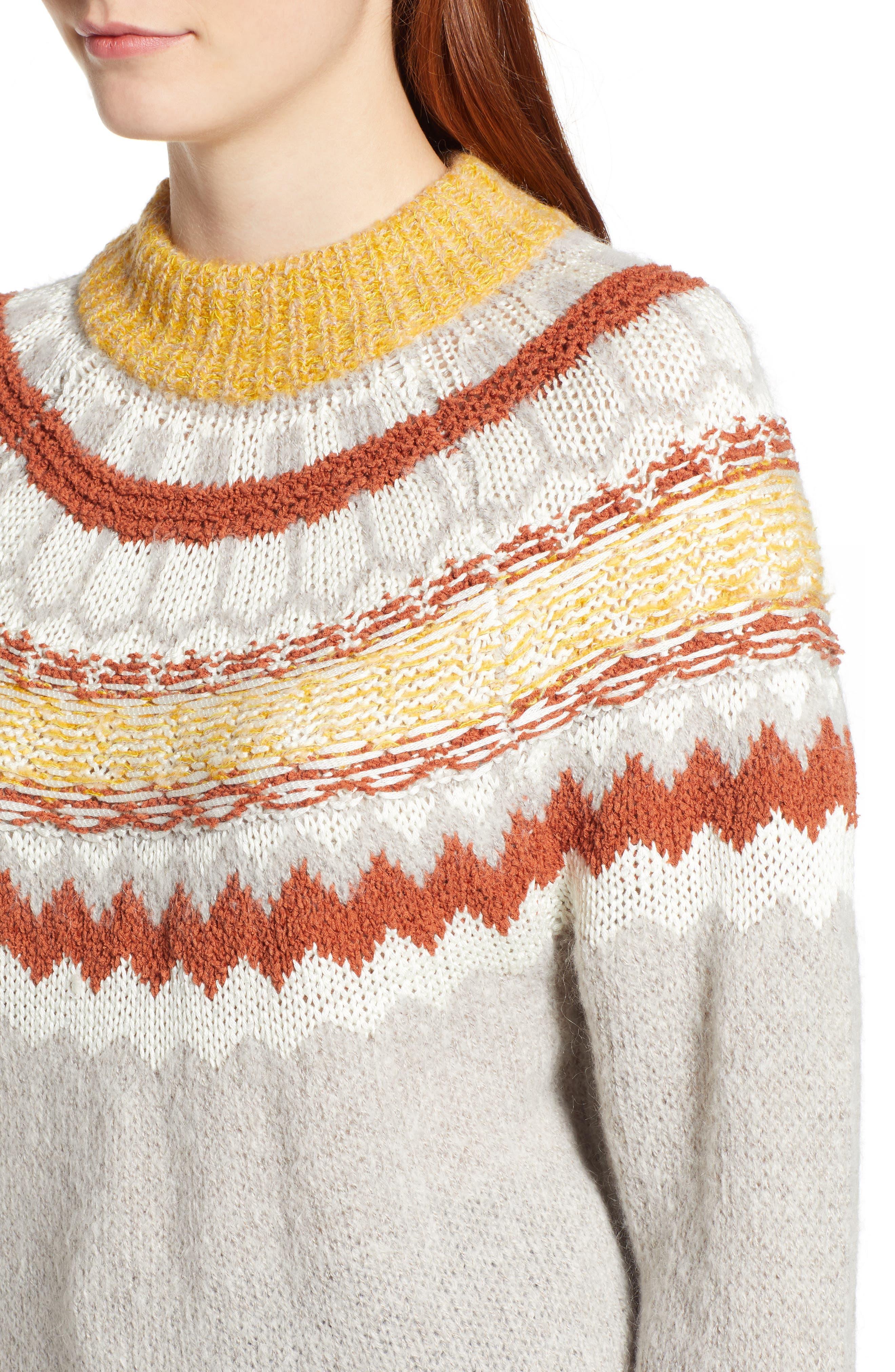 Chunky Jacquard Sweater,                             Alternate thumbnail 4, color,                             TAN FOLIAGE PATTERN