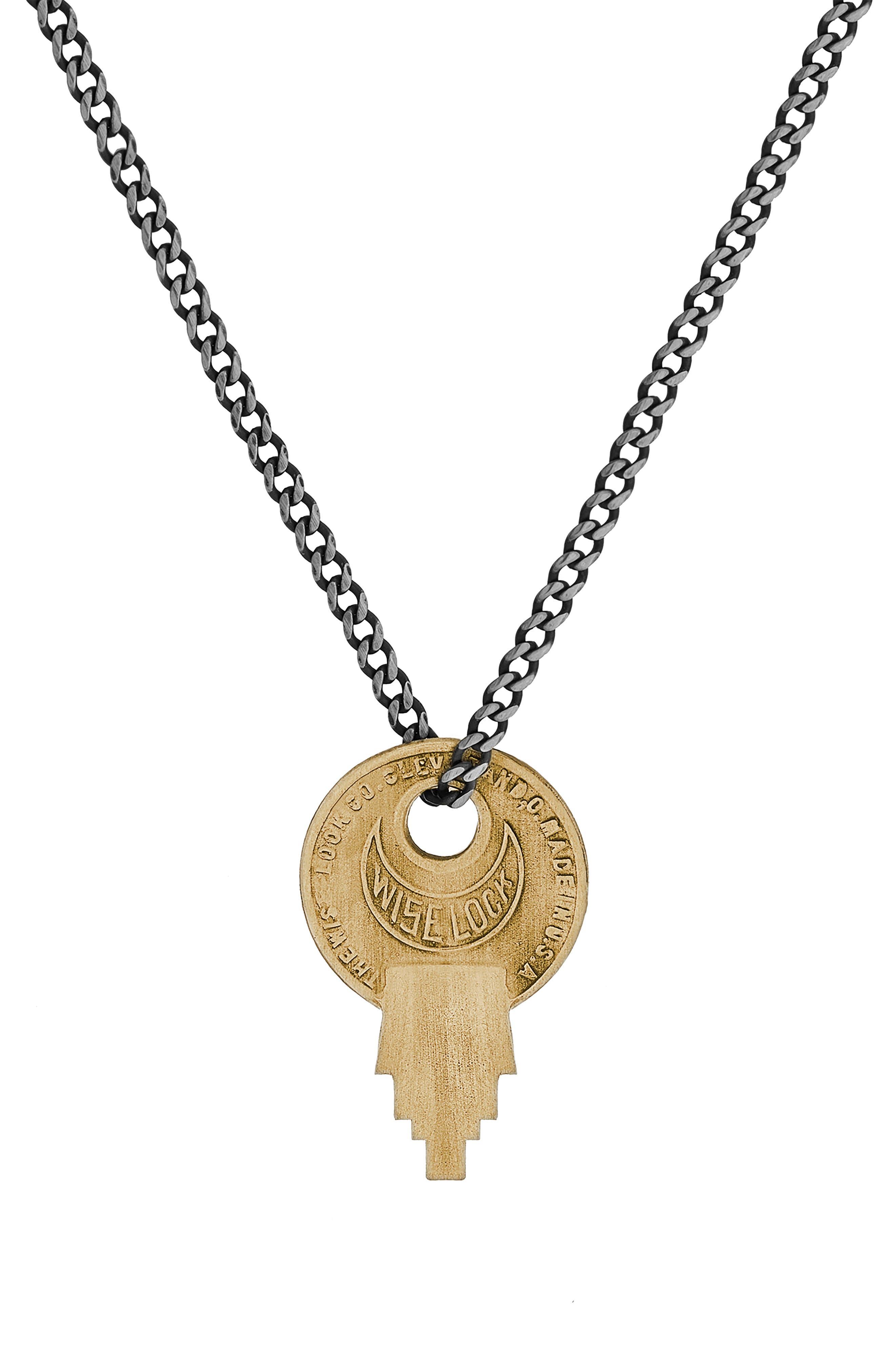 Wise Lock Brass Pendant Necklace,                             Main thumbnail 1, color,                             MATTE BRASS