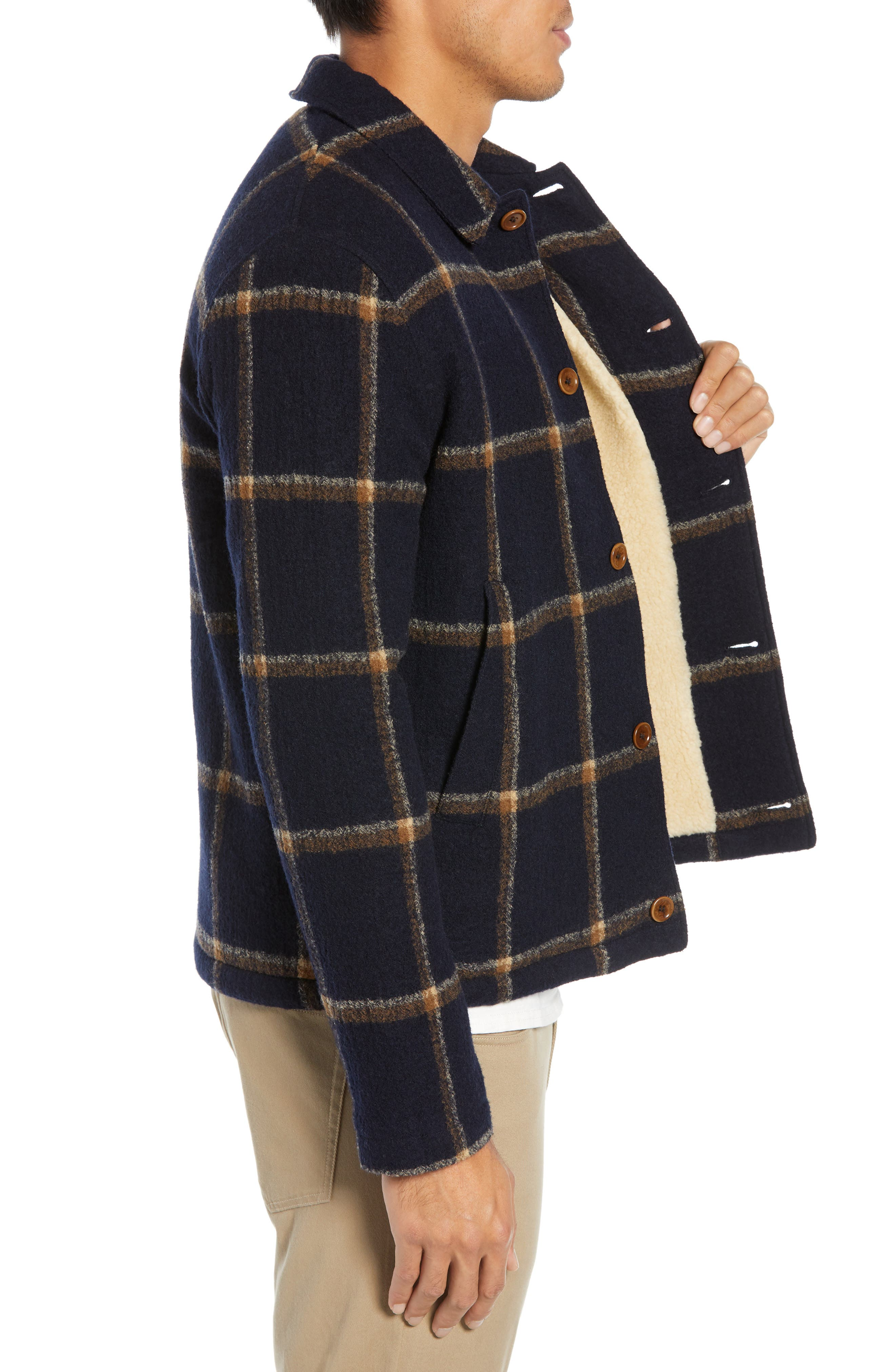 Regular Fit Faux Shearling Lined Check Wool Groundhog Jacket,                             Alternate thumbnail 3, color,                             NAVY