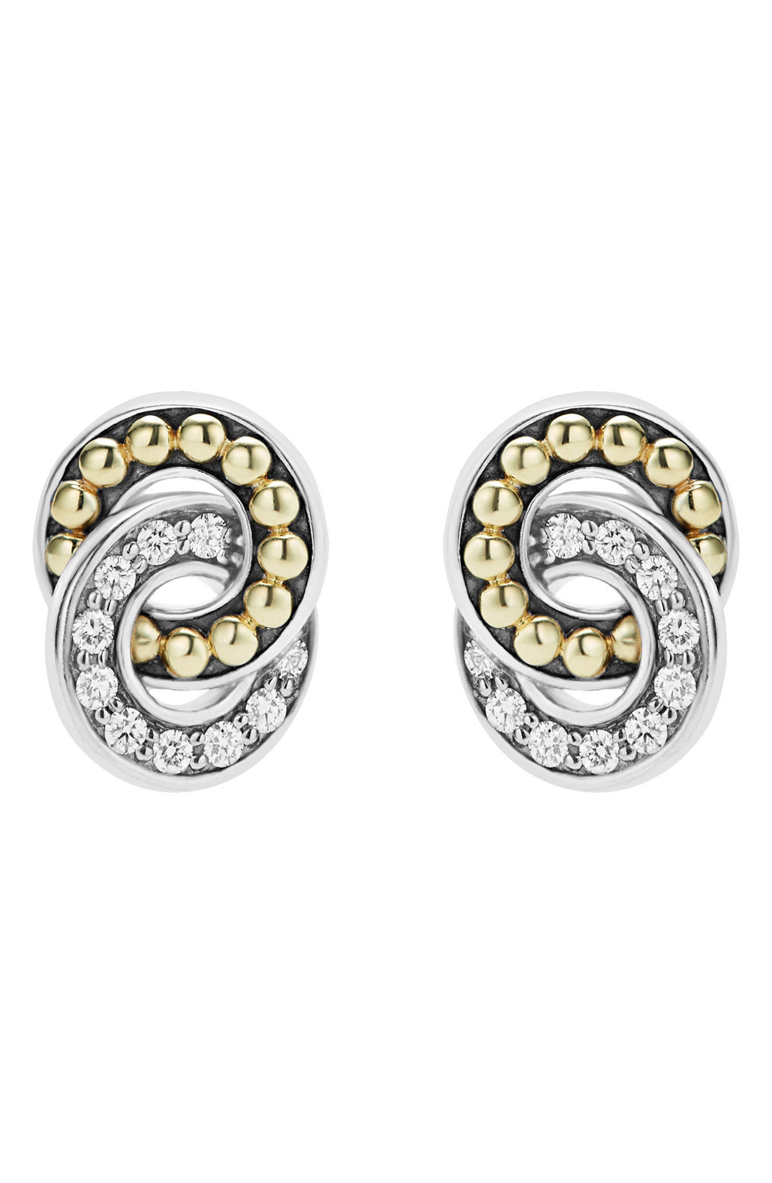 Enso Diamond Stud Earrings,                             Alternate thumbnail 2, color,                             SILVER