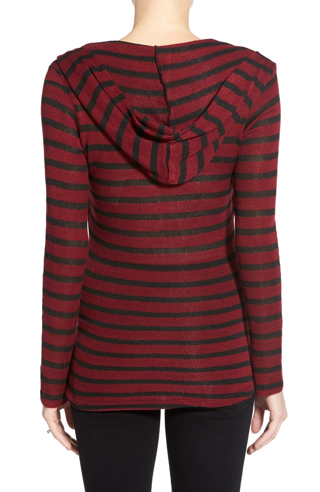 'Zoe' Stripe Maternity/Nursing Hoodie,                             Alternate thumbnail 2, color,                             RED/ BLACK STRIPE