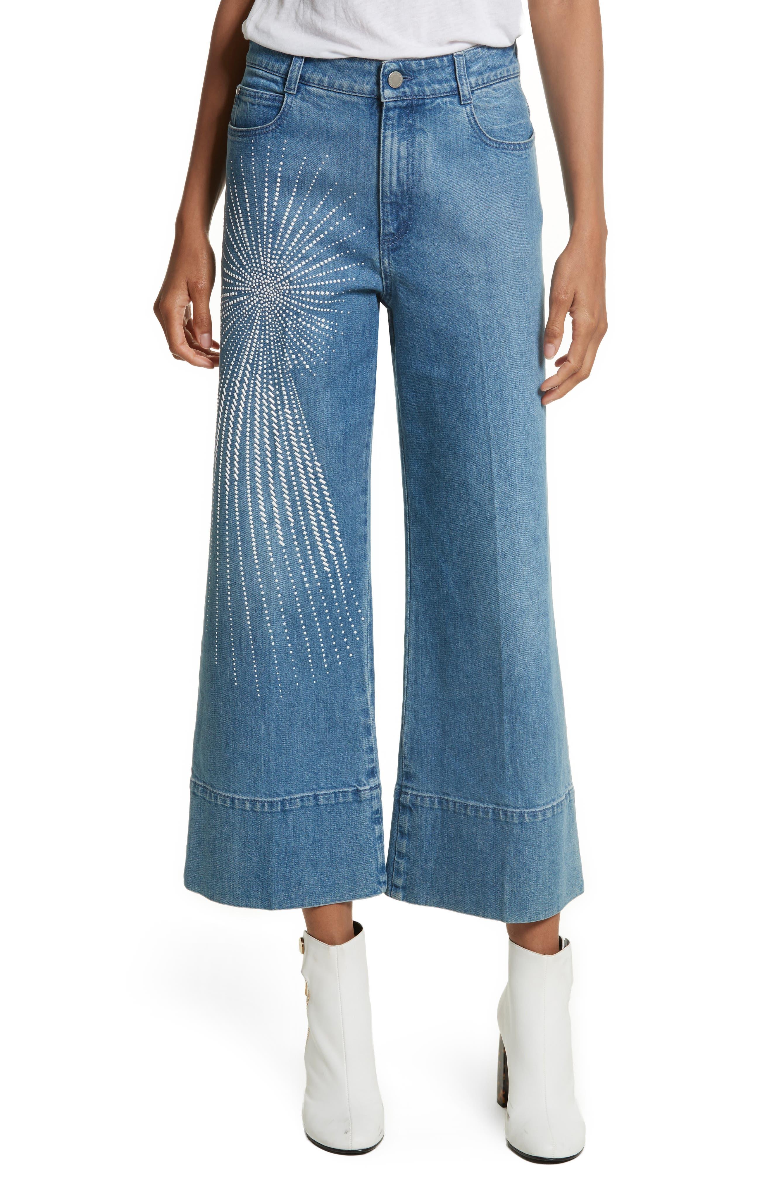 Studded Denim Culottes,                         Main,                         color, 400