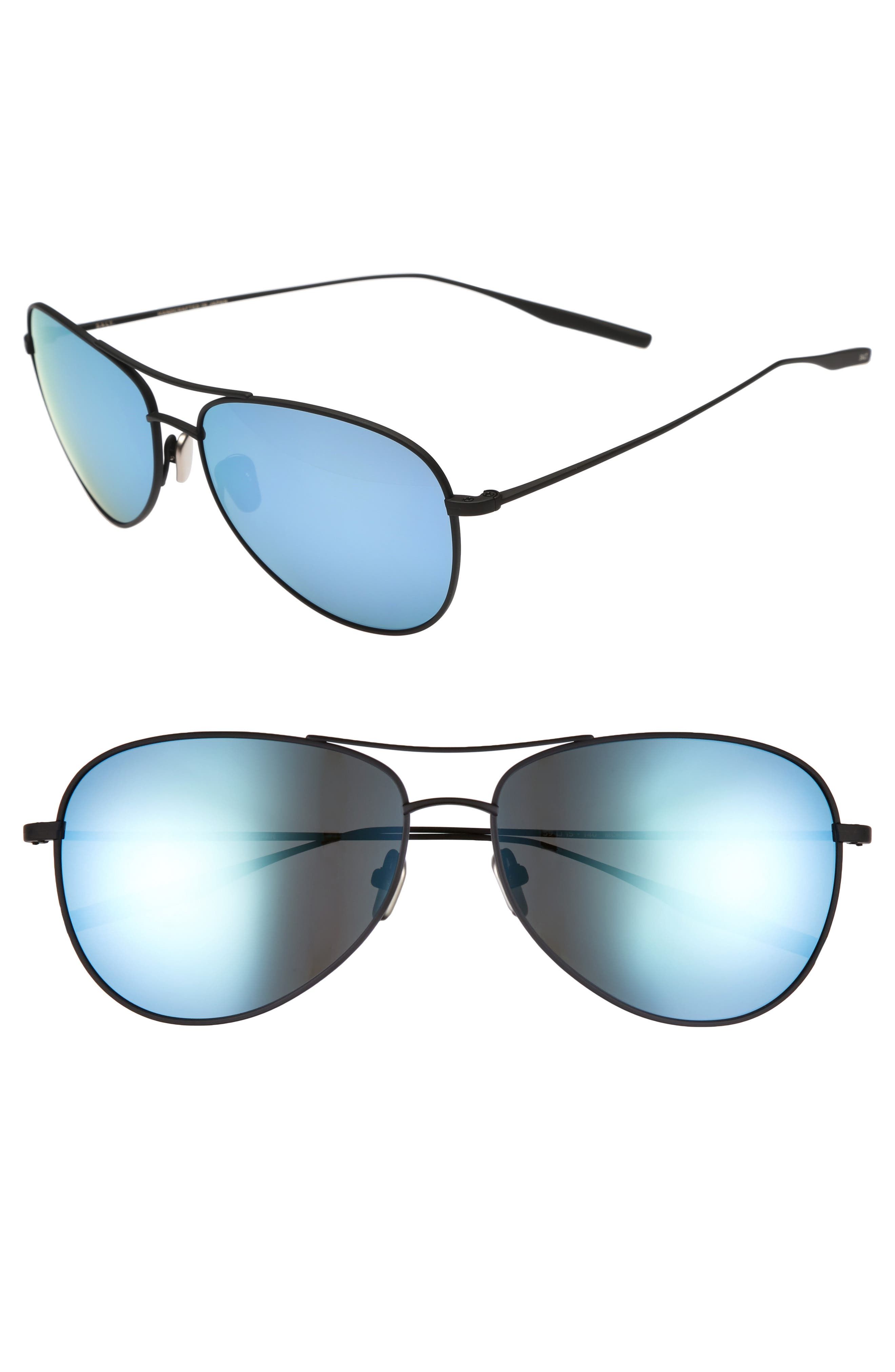 McKean 59mm Aviator Sunglasses,                         Main,                         color, BLACK SAND / MIRROR BLUE