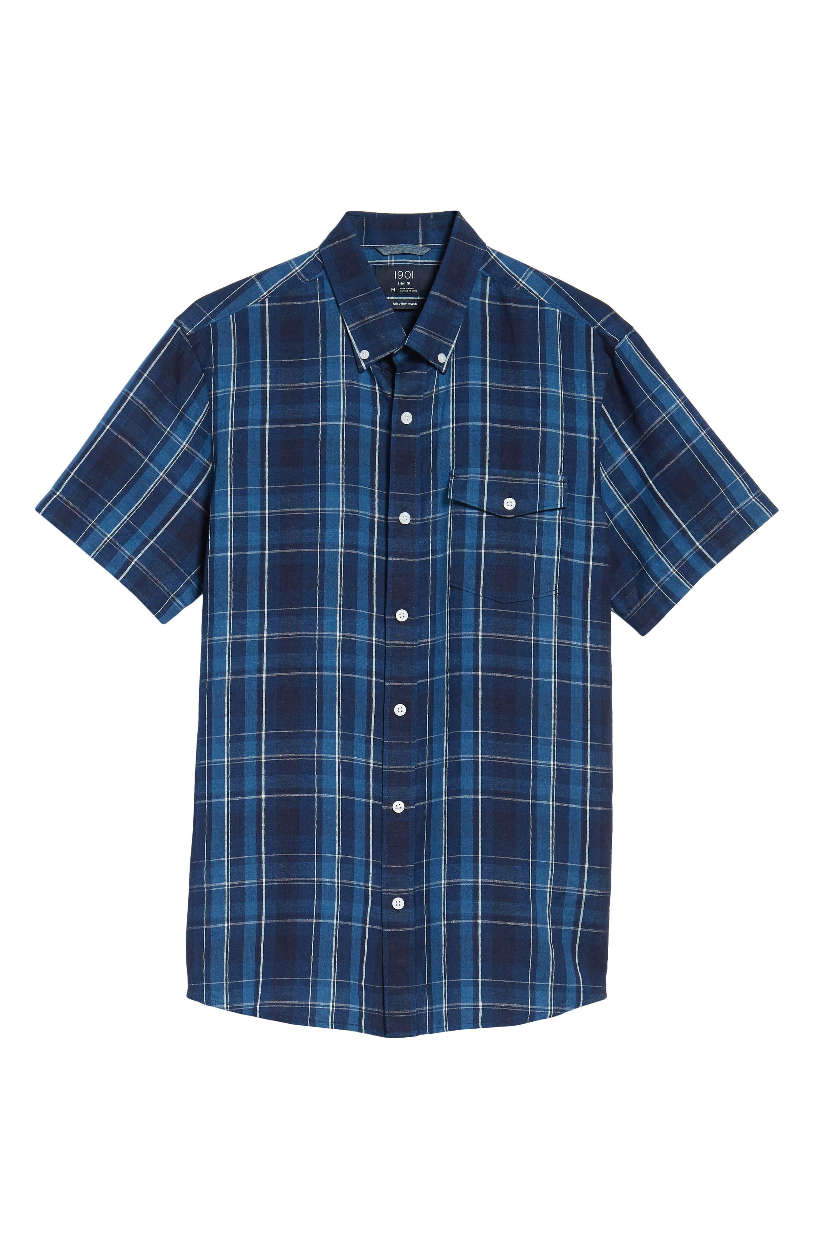 Ivy Trim Fit Plaid Cotton & Linen Sport Shirt,                             Alternate thumbnail 6, color,                             410