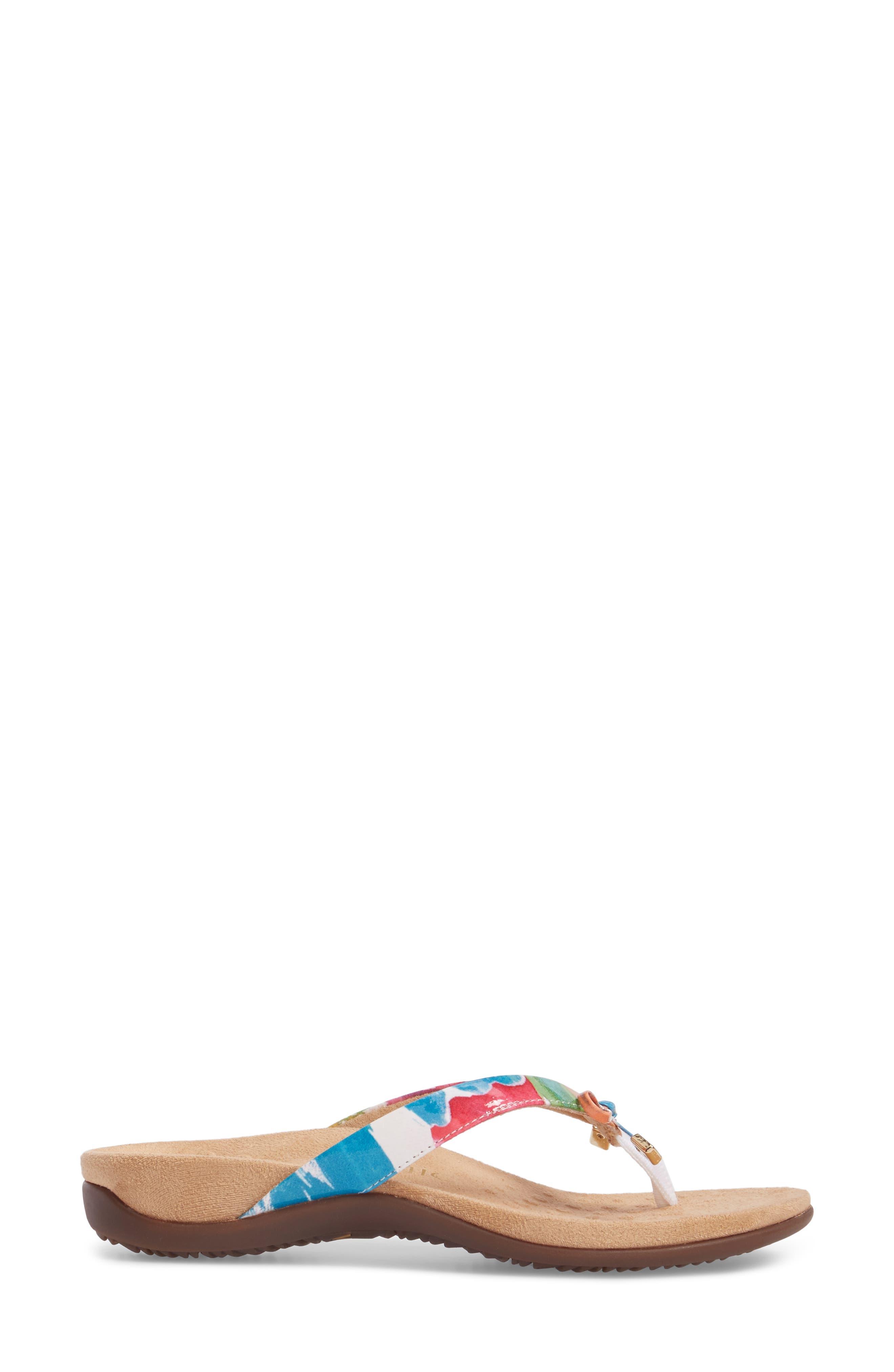 VIONIC,                             'Bella II' Sandal,                             Alternate thumbnail 3, color,                             WHITE FLORAL FAUX LEATHER