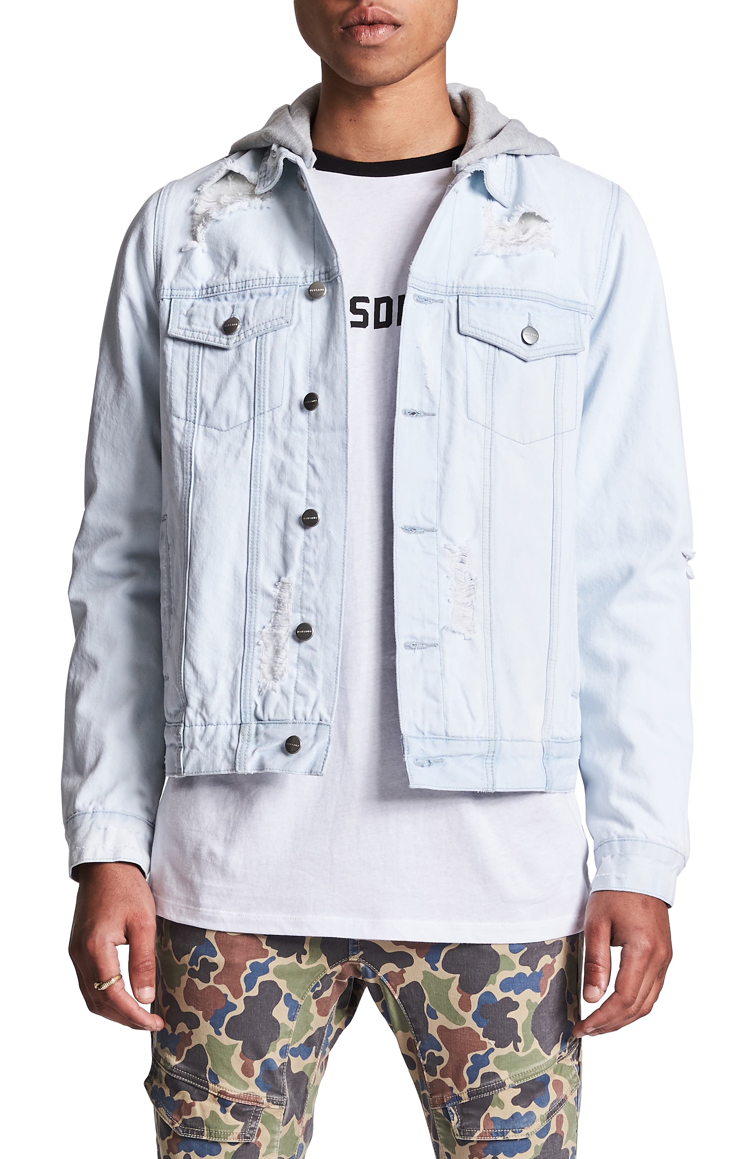 NXP Sidewinder Denim Jacket with Detachable Hood, Main, color, VIN BLEACHED INDIGO