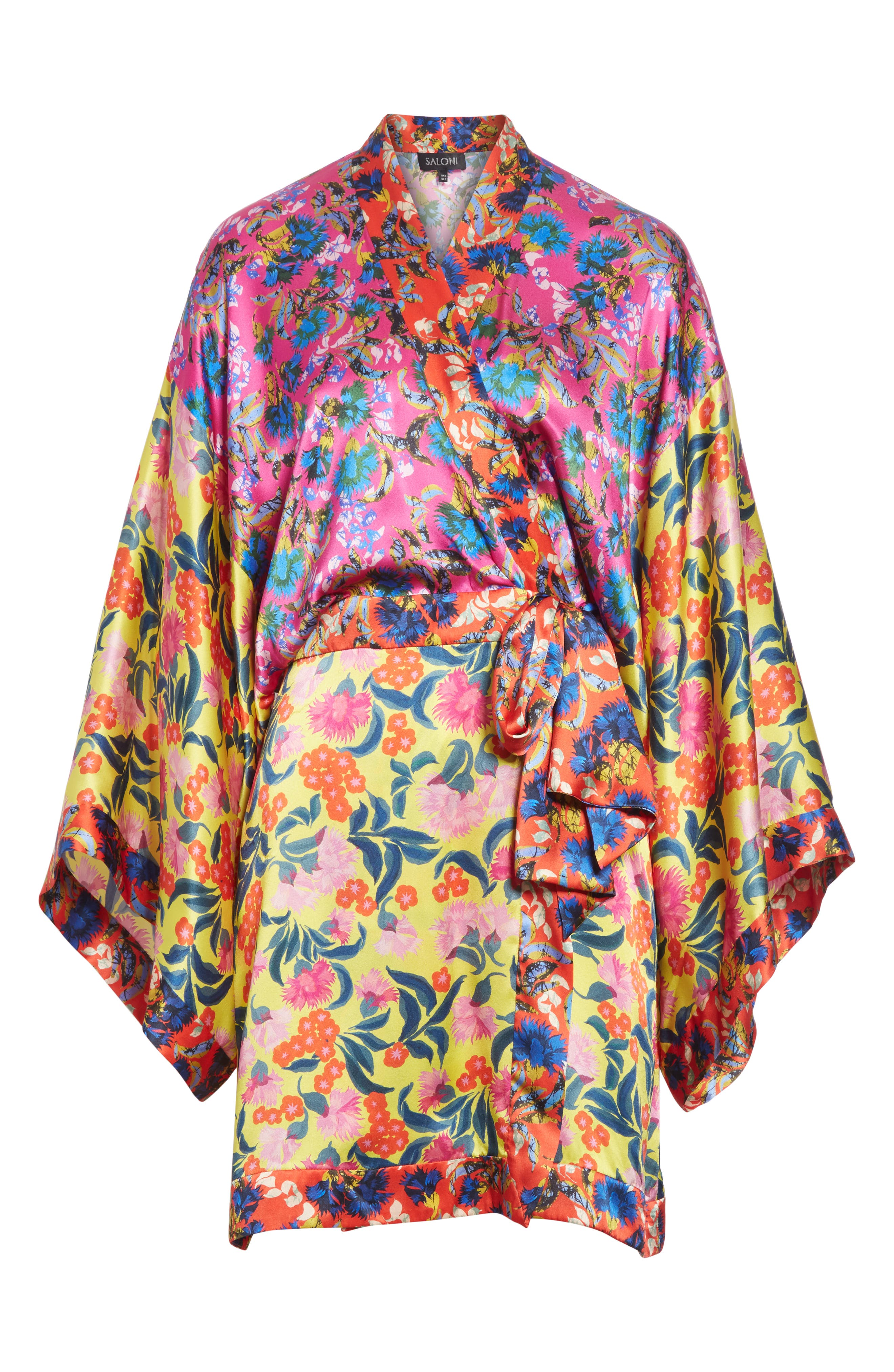 Suki Mixed Floral Silk Wrap Dress,                             Alternate thumbnail 6, color,                             YELLOW AZALEA