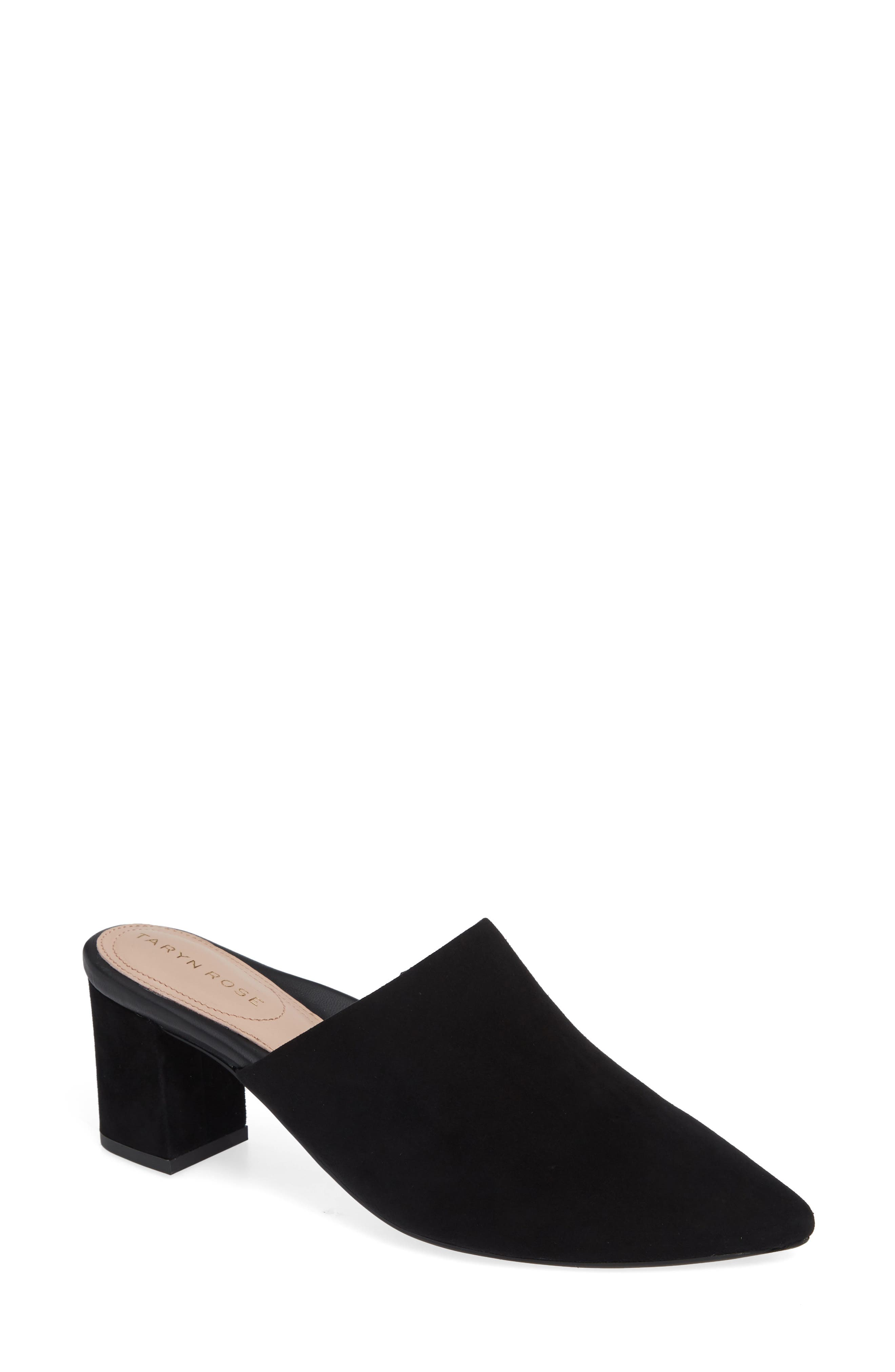 Madisson Pointy Toe Mule,                             Main thumbnail 1, color,                             BLACK SUEDE
