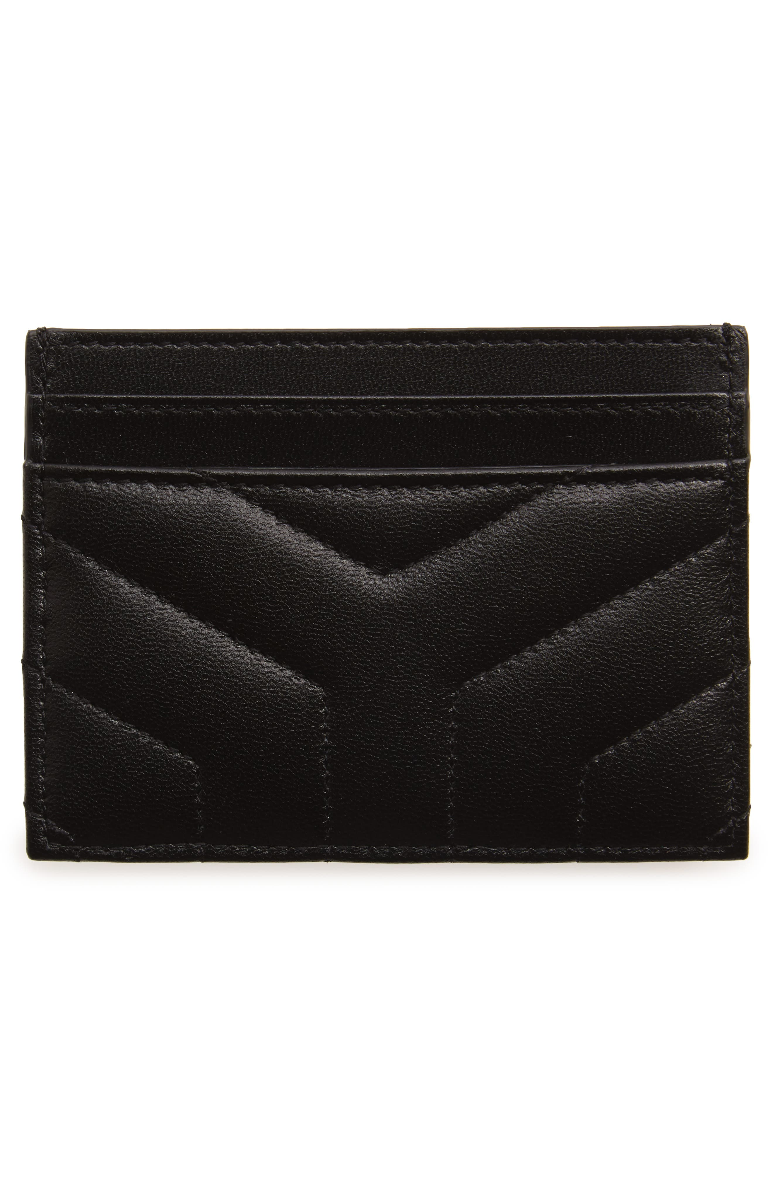 Loulou Monogram Quilted Leather Credit Card Case,                             Alternate thumbnail 2, color,                             NOIR