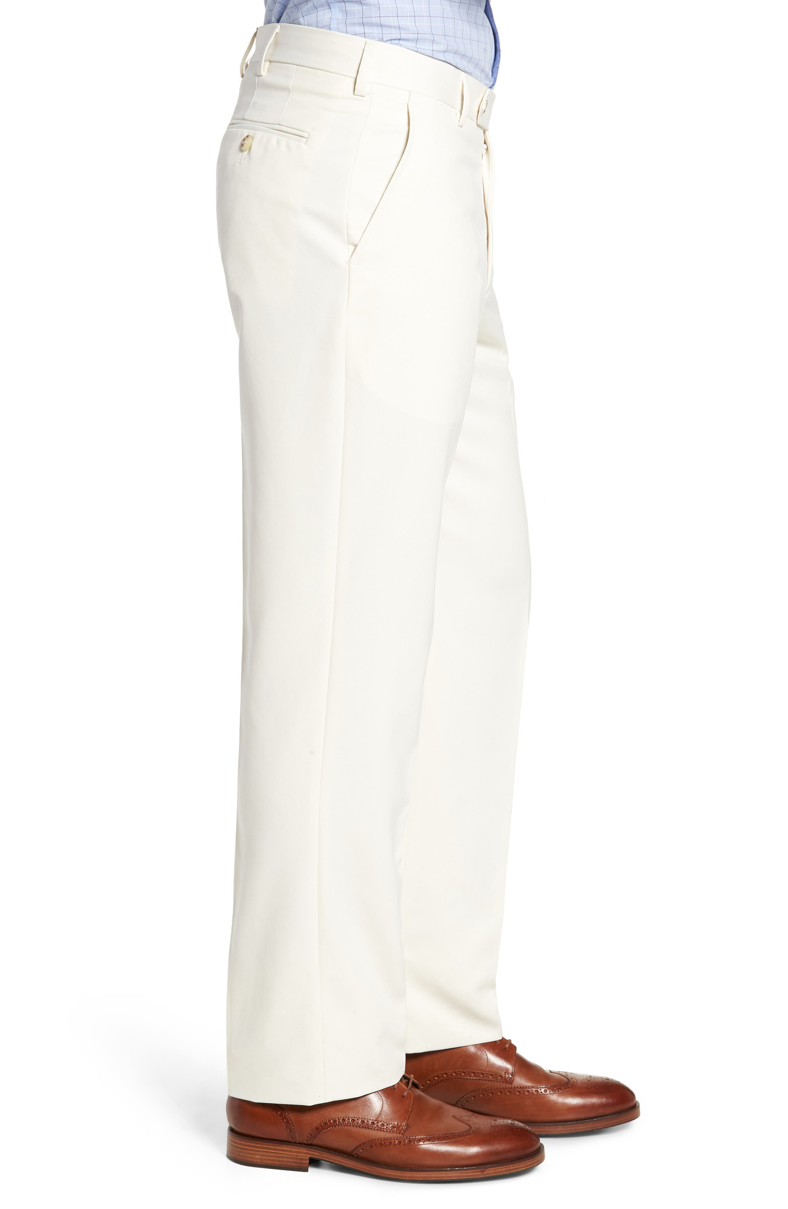 Classic Fit Flat Front Microfiber Performance Trousers,                             Alternate thumbnail 3, color,                             OFF WHITE