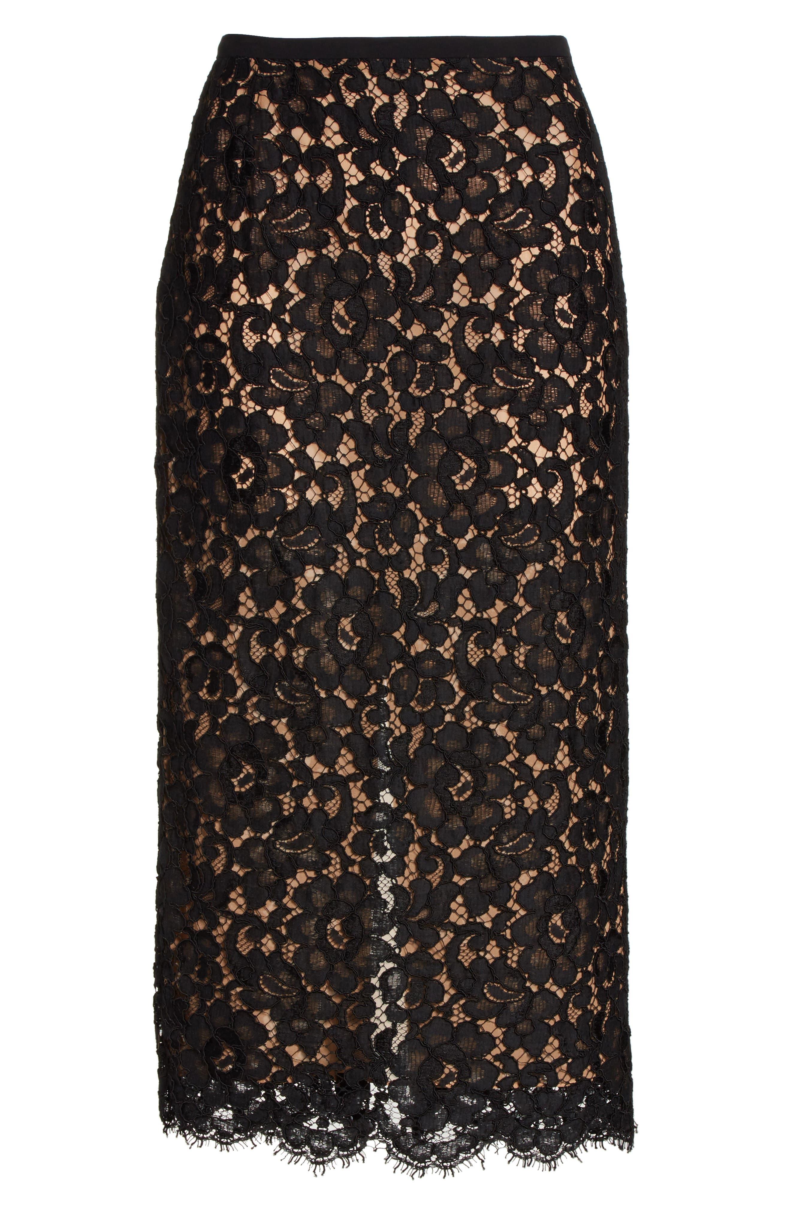 Lace Pencil Skirt,                             Alternate thumbnail 6, color,                             BLACK