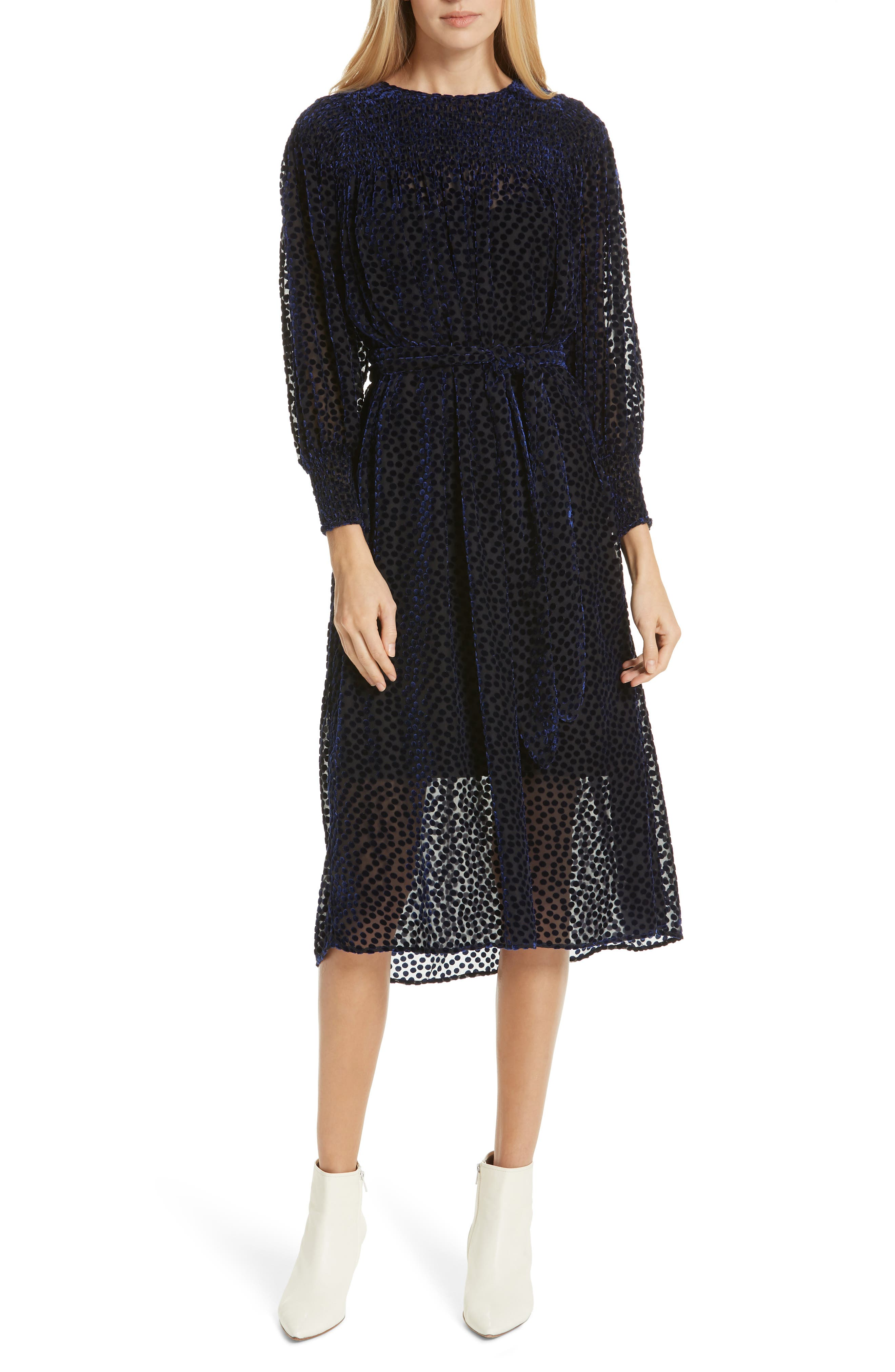 The Merry Velvet Burnout Dress,                             Main thumbnail 1, color,                             NAVY