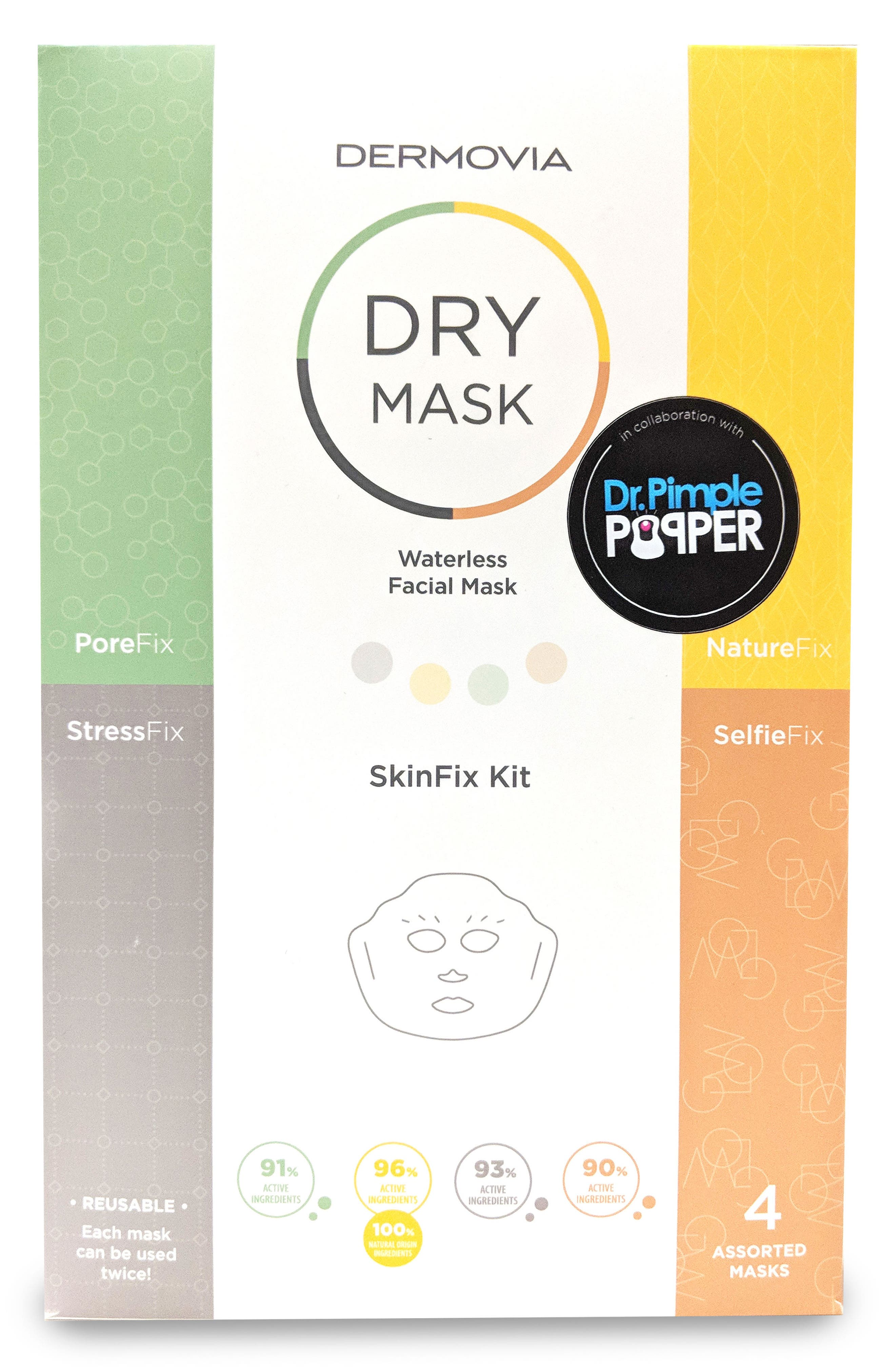 x Dr. Pimple Popper DRY Mask Waterless Facial Mask SkinFix Kit,                             Main thumbnail 1, color,                             000