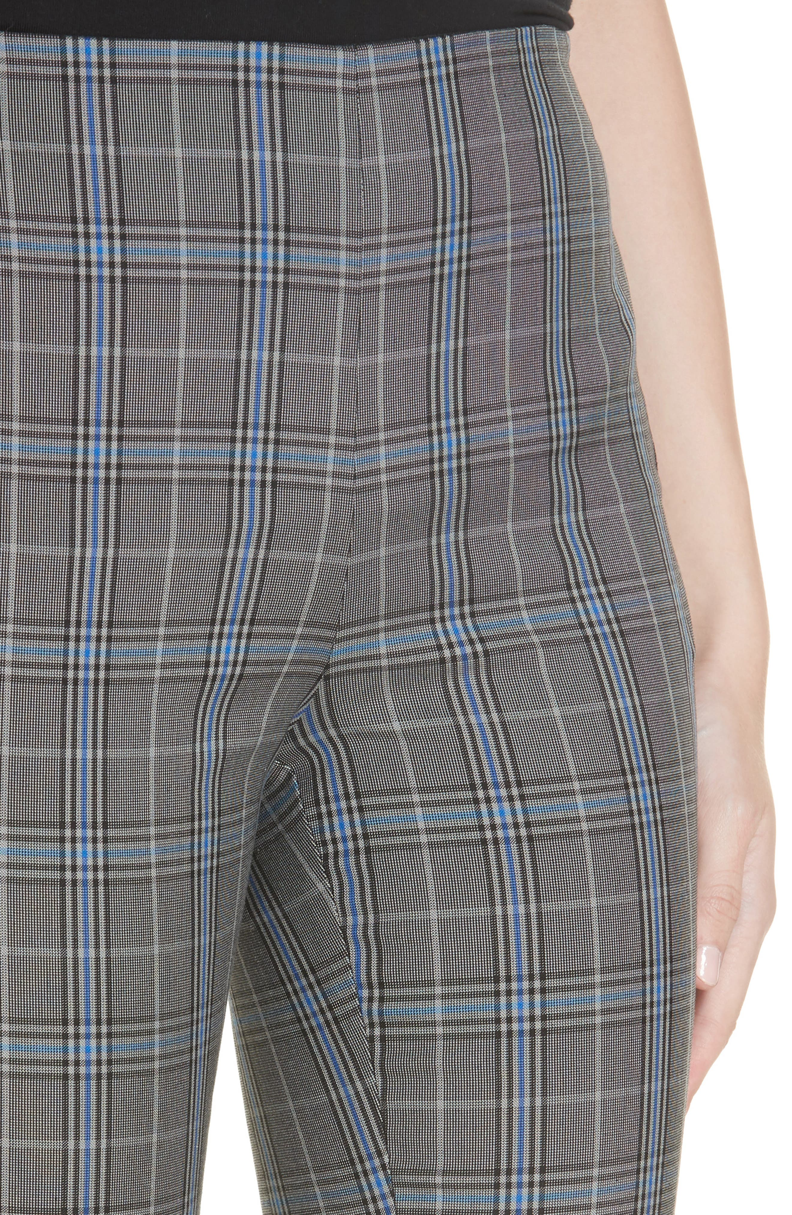 Simone Plaid Crop Pants,                             Alternate thumbnail 4, color,                             GREY MULTI