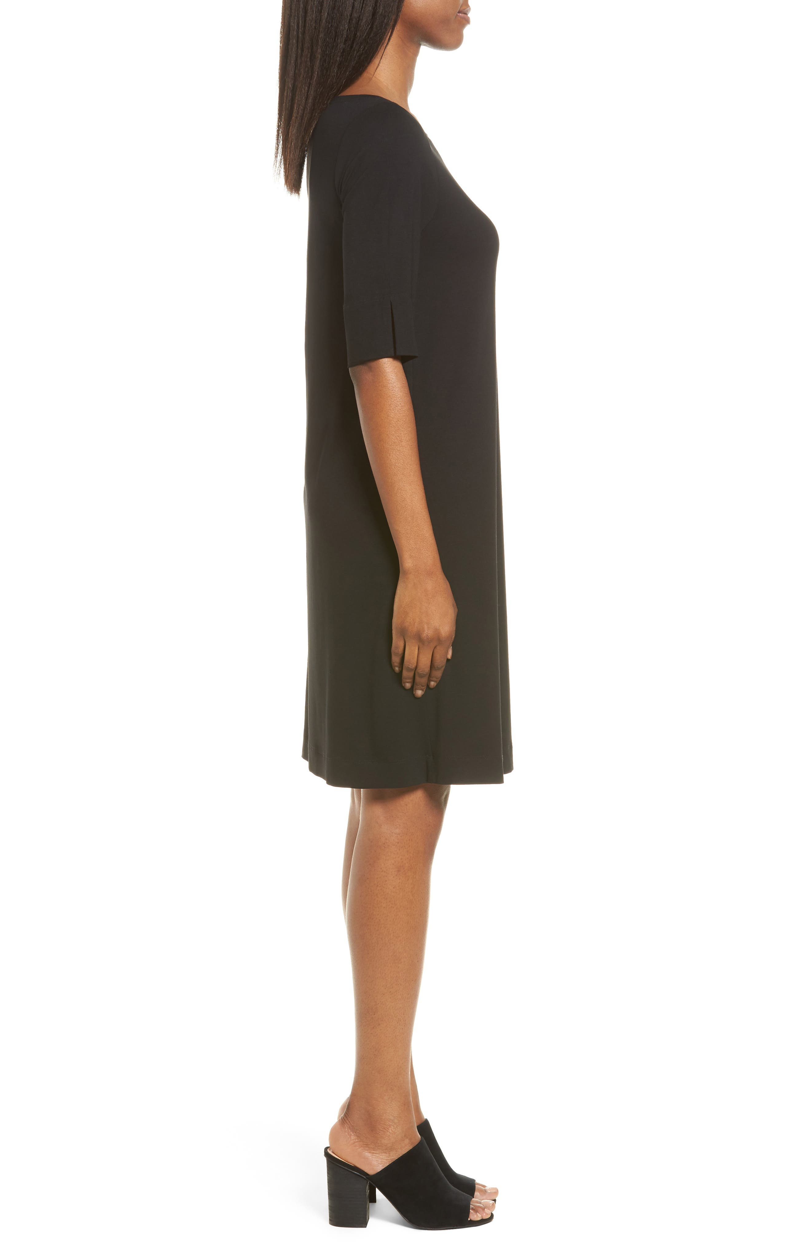 Jersey Shift Dress,                             Alternate thumbnail 3, color,                             001